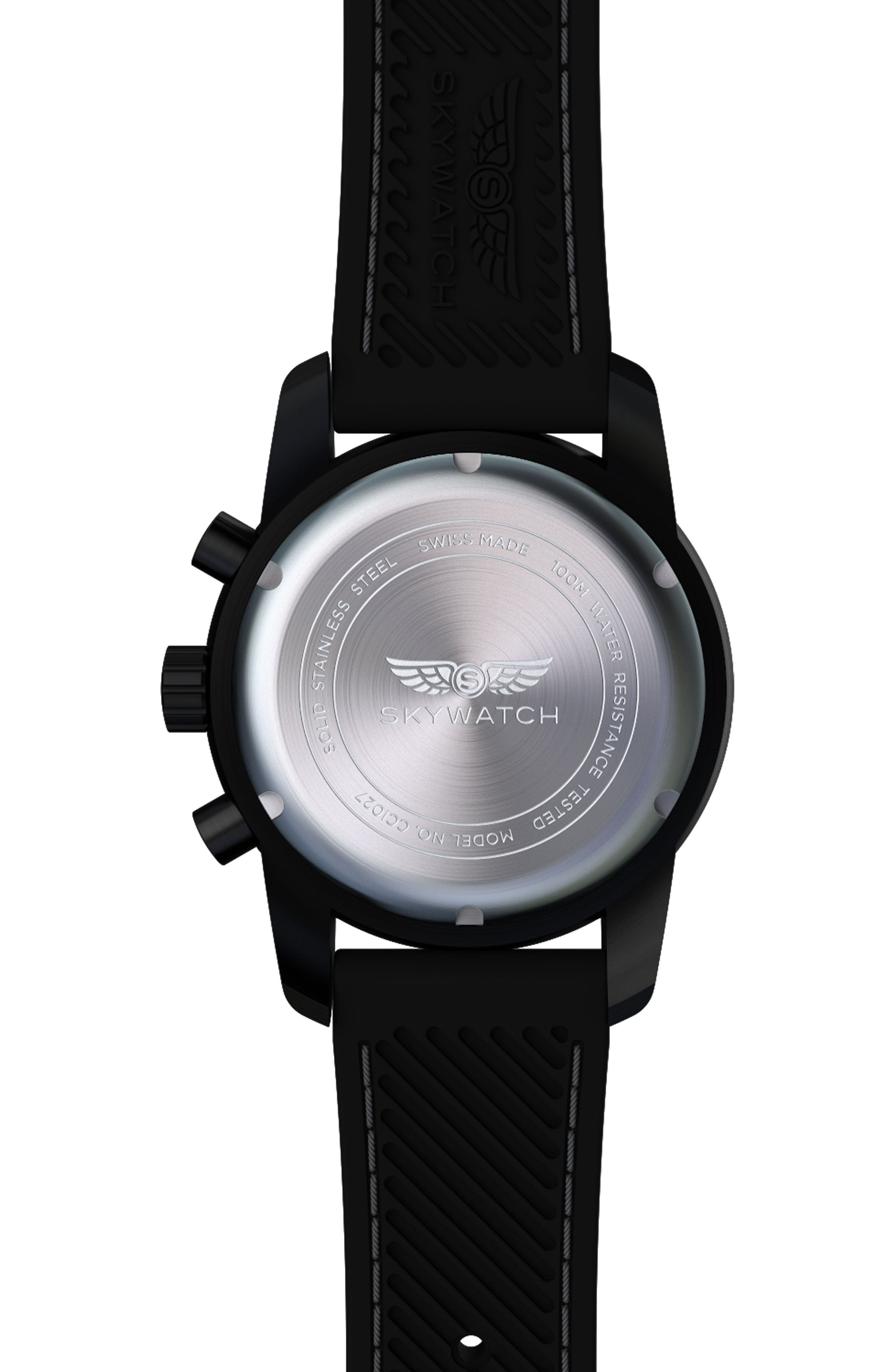 SKYWATCH,                             Classic Chronograph Silicone Strap Watch, 44mm,                             Alternate thumbnail 2, color,                             BLACK/ BLACK