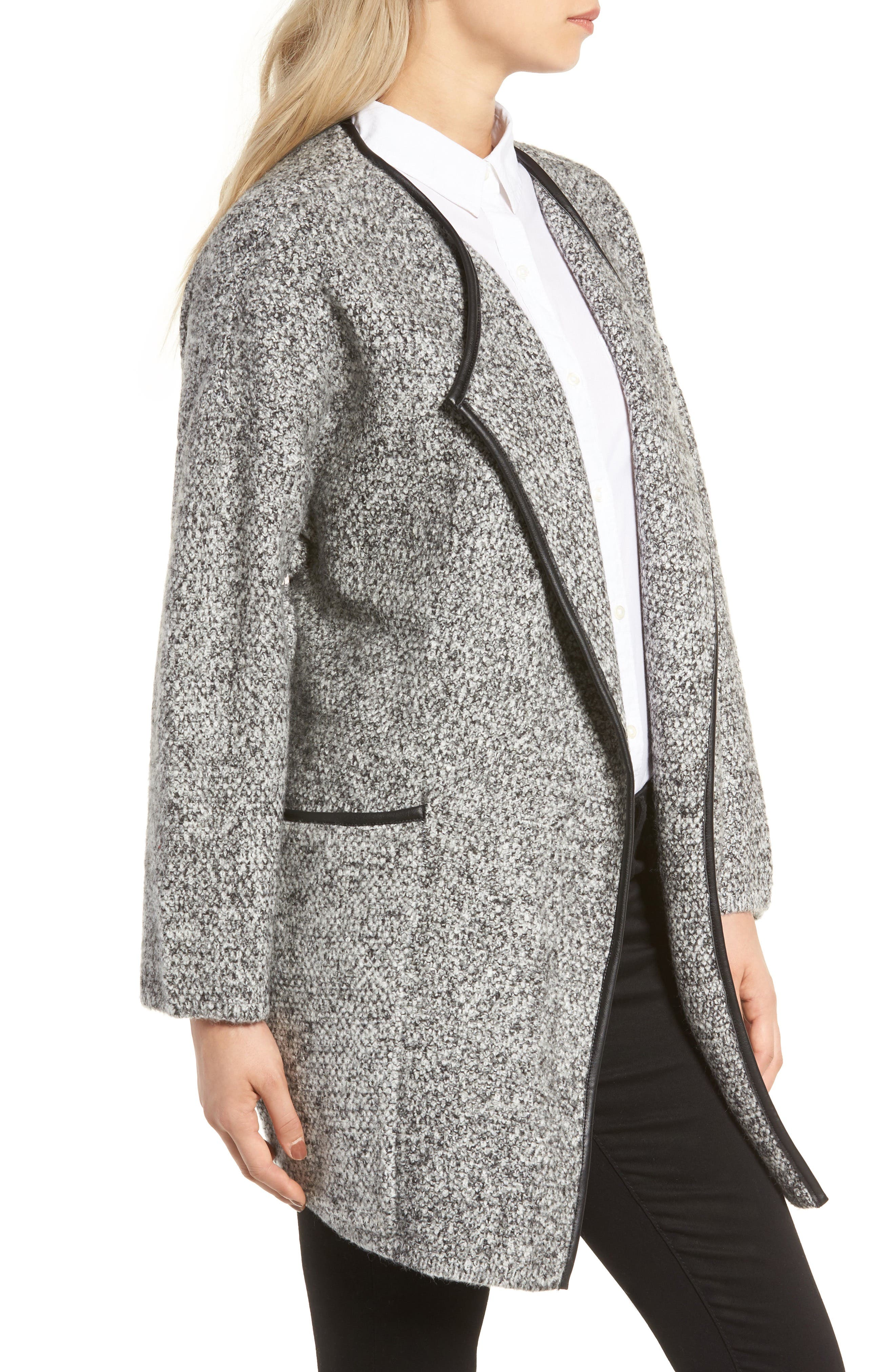 ASTR THE LABEL,                             ASTR Drape Front Sweater Jacket,                             Alternate thumbnail 3, color,                             001