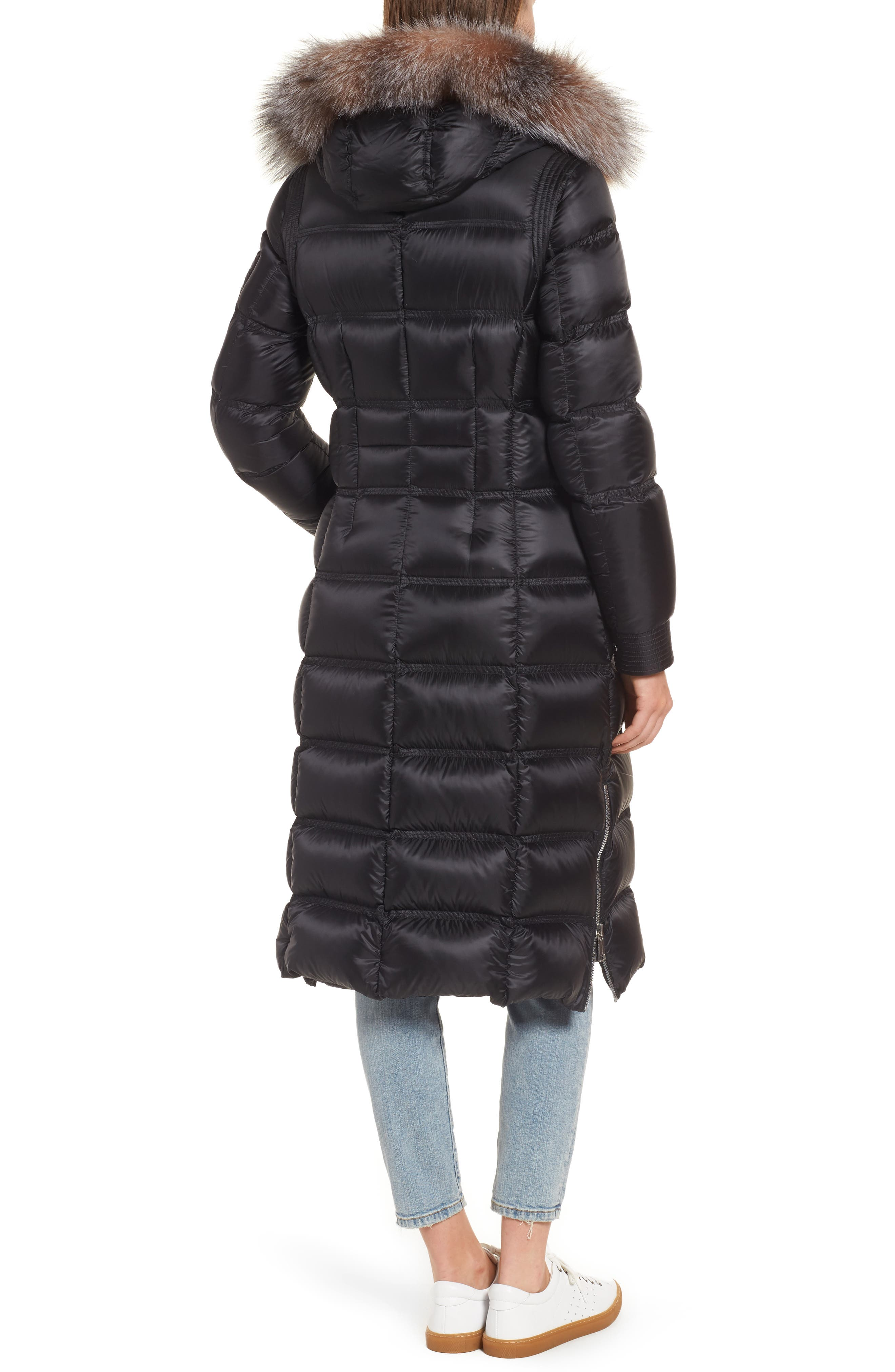 Charlize 42 Hooded Water Resistant Down Coat with Genuine Fox Fur Trim,                             Alternate thumbnail 2, color,                             001