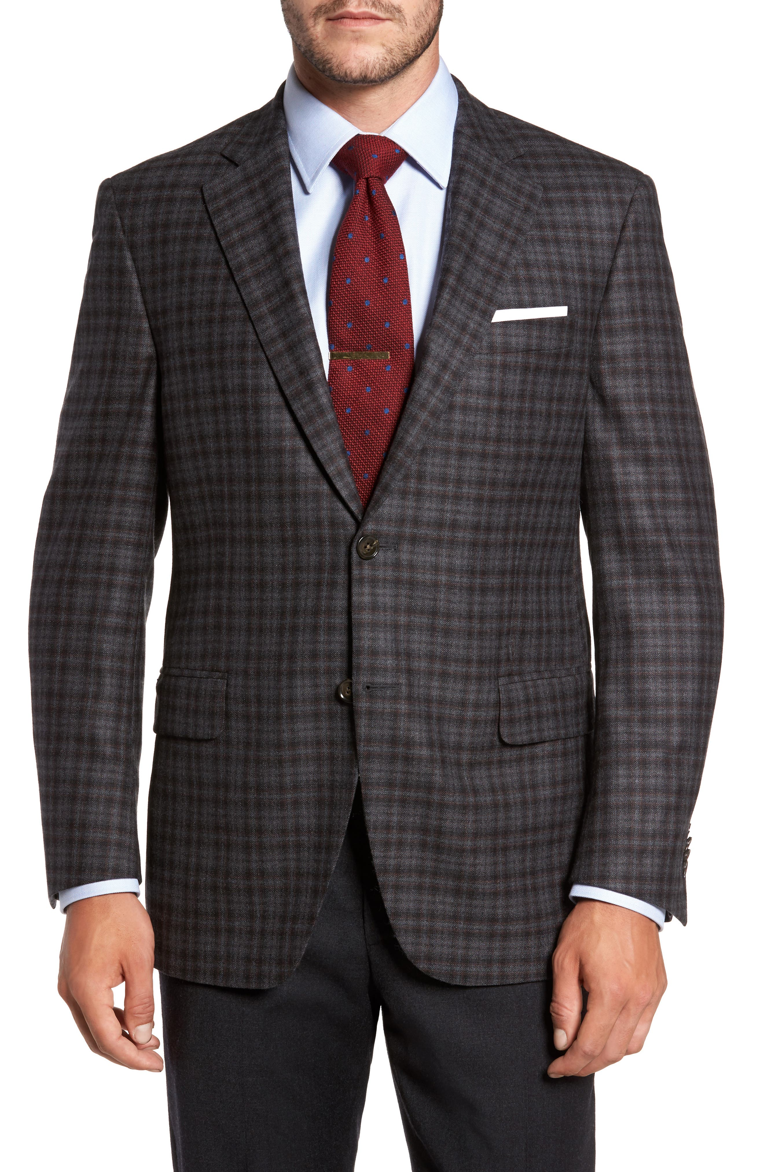 Classic Fit Plaid Wool Sport Coat,                             Main thumbnail 1, color,