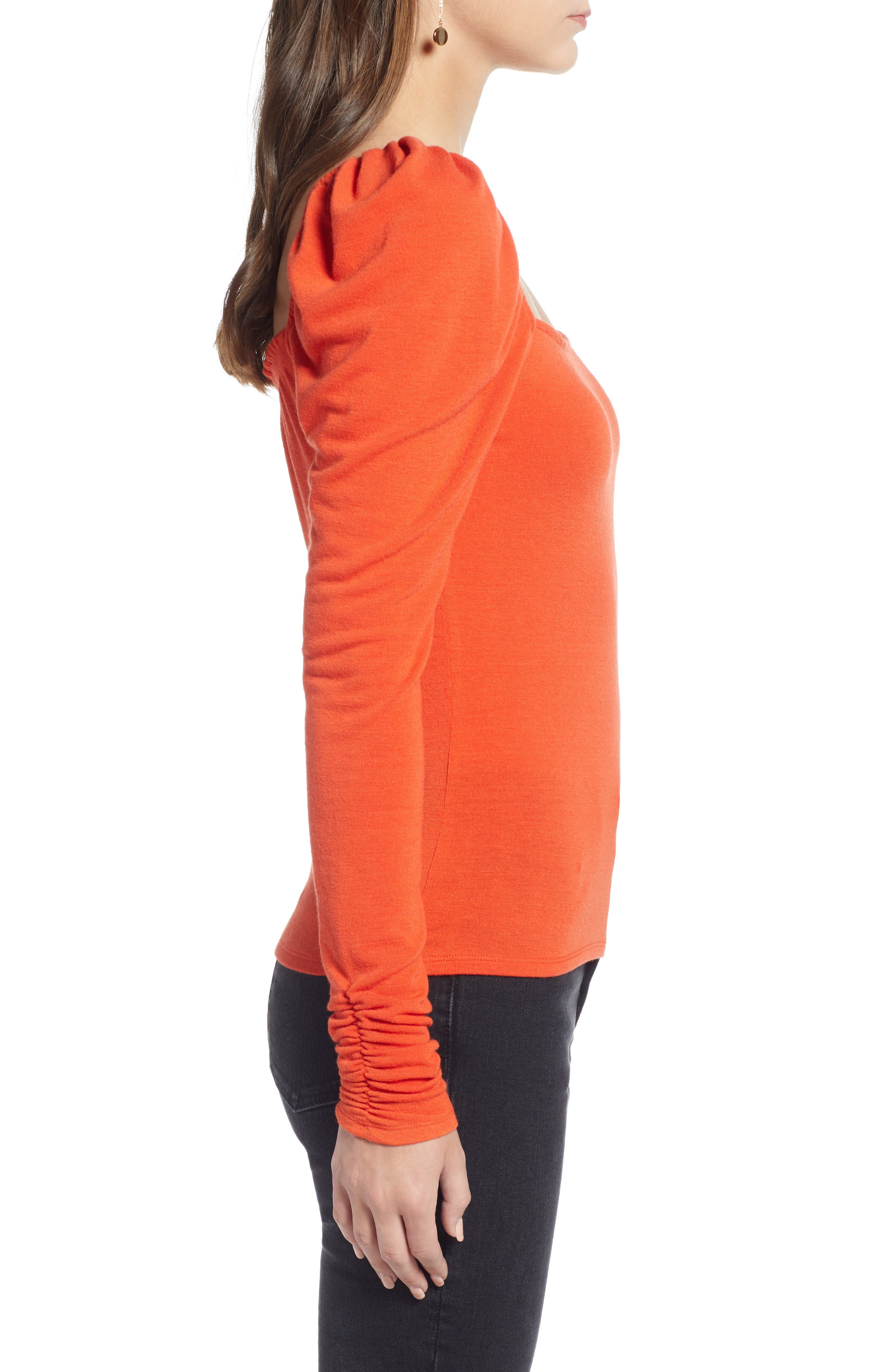 Square Neck Slim Knit Top,                             Alternate thumbnail 3, color,                             RED POINCIANA