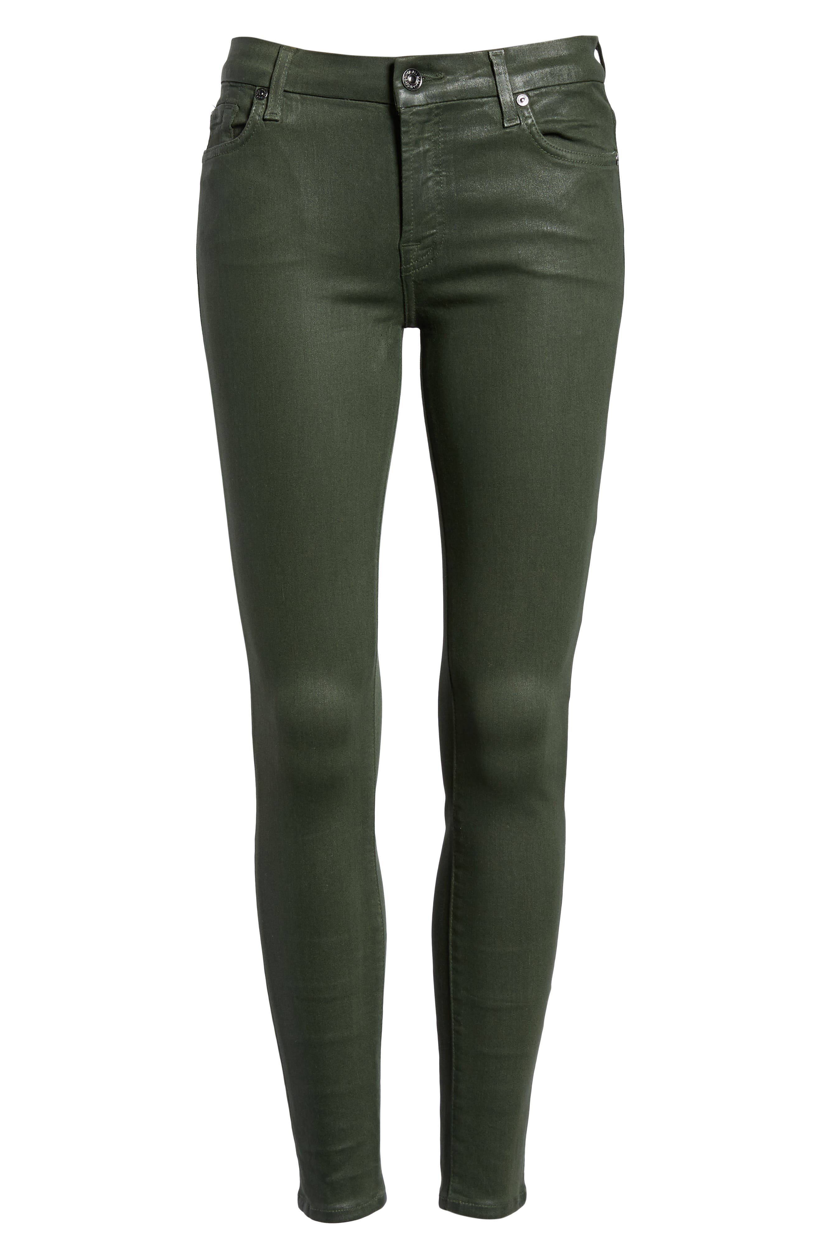 Coated Ankle Skinny Jeans,                             Alternate thumbnail 7, color,                             COATED MOSS GREEN