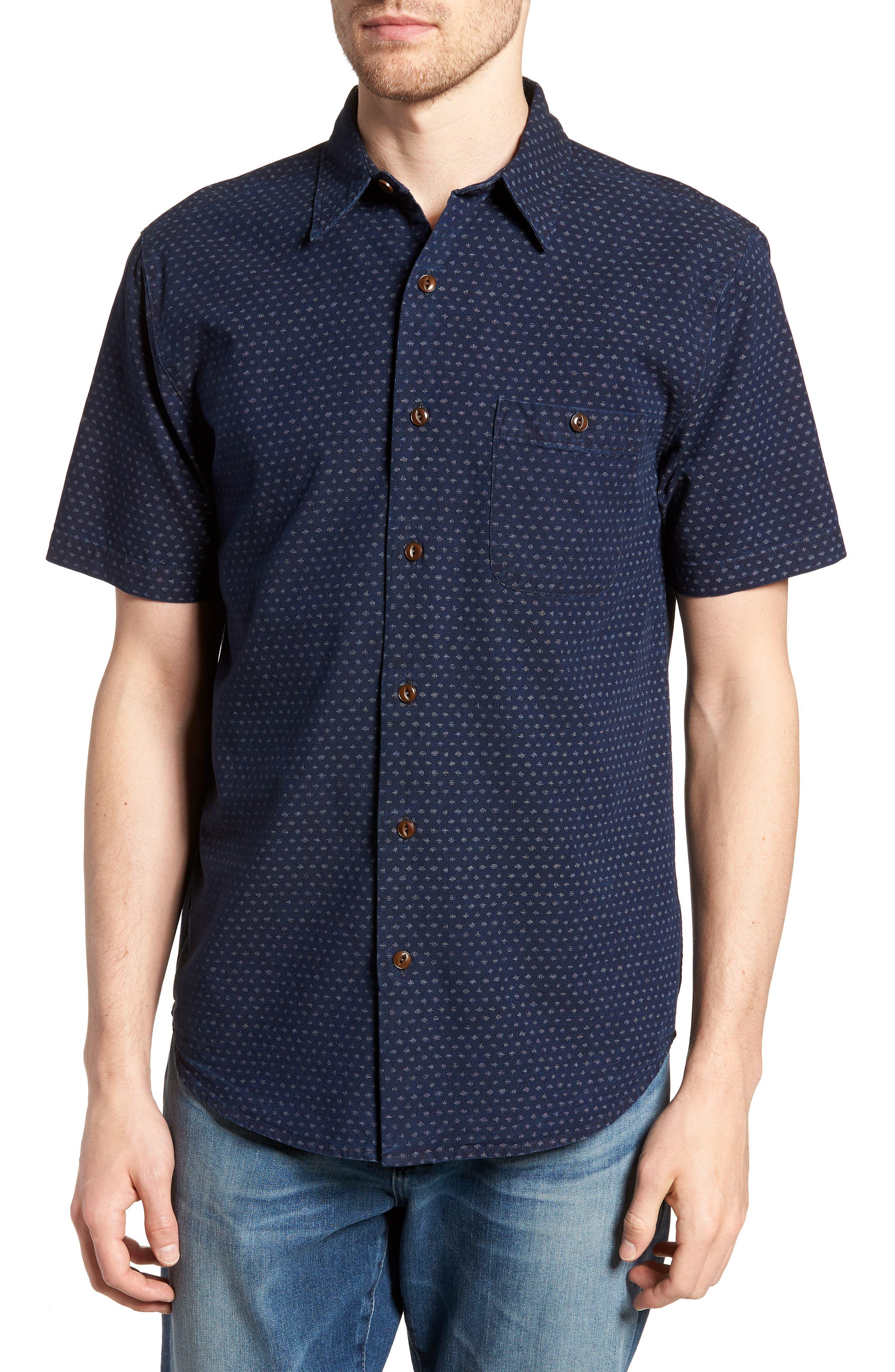 Coast Sport Shirt,                         Main,                         color, INDIGO FLECK