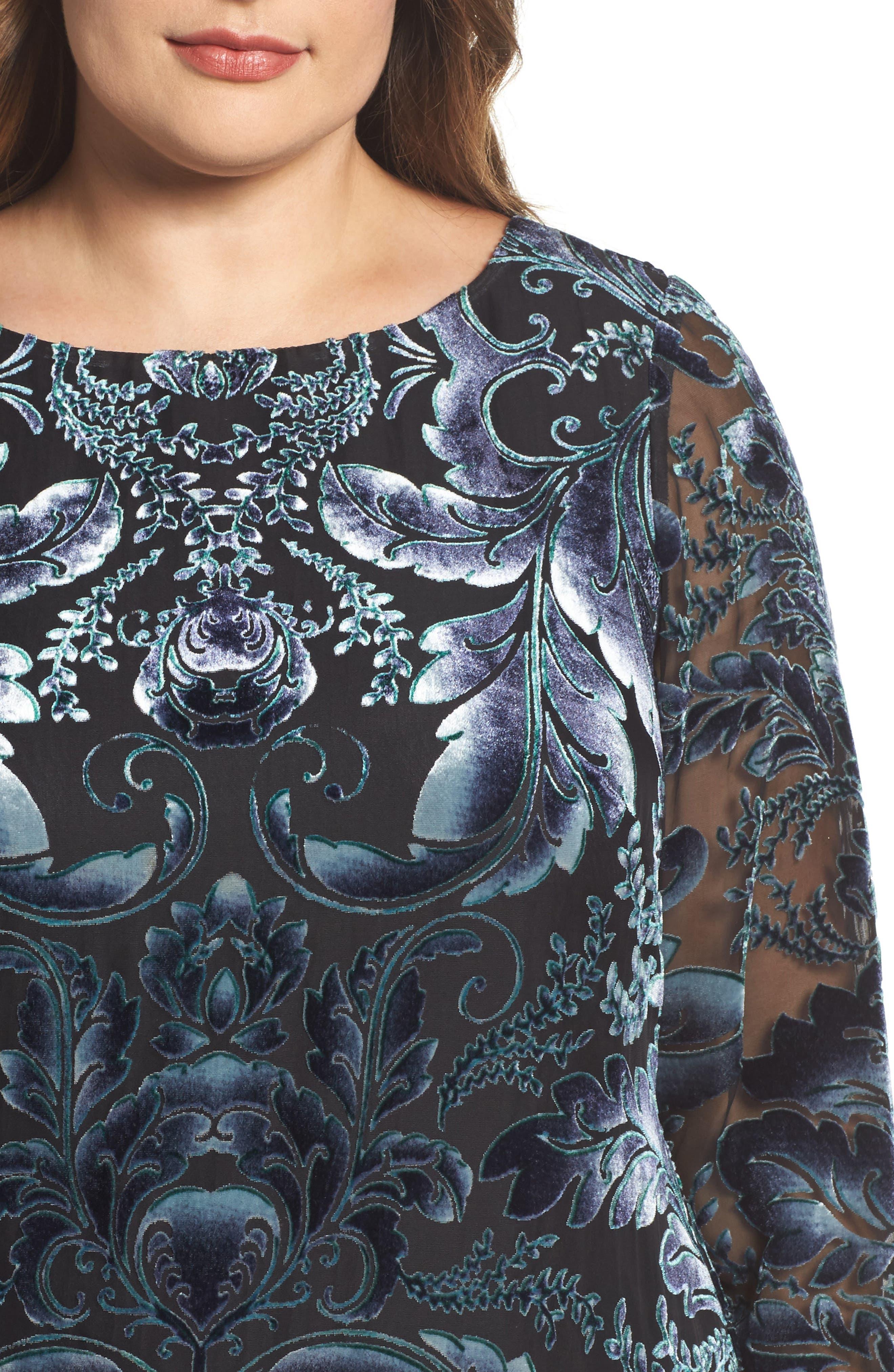 Burnout Velvet Sheath Dress,                             Alternate thumbnail 4, color,                             004