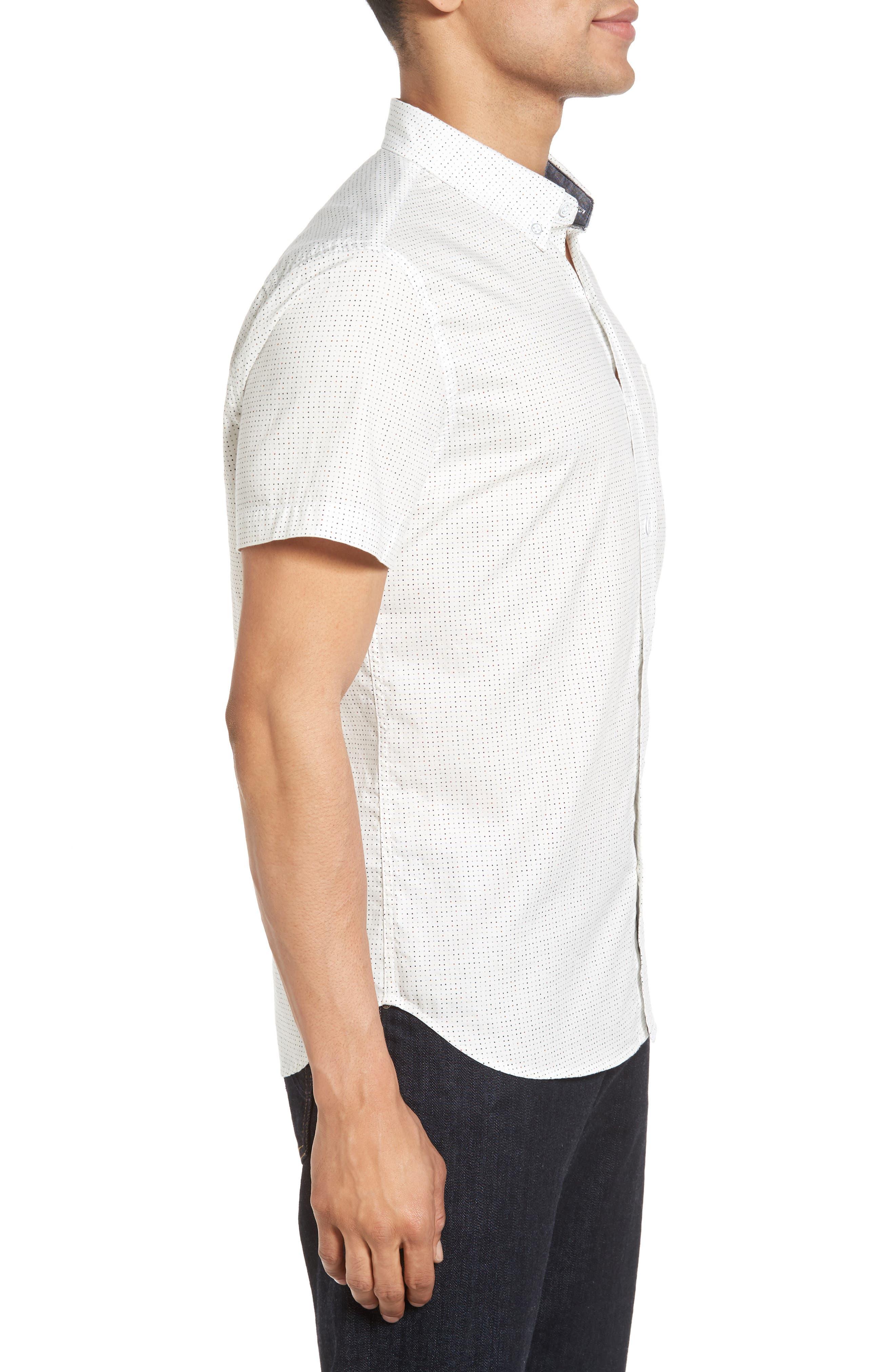 Nash Slim Fit Cotton Sport Shirt,                             Alternate thumbnail 3, color,                             100