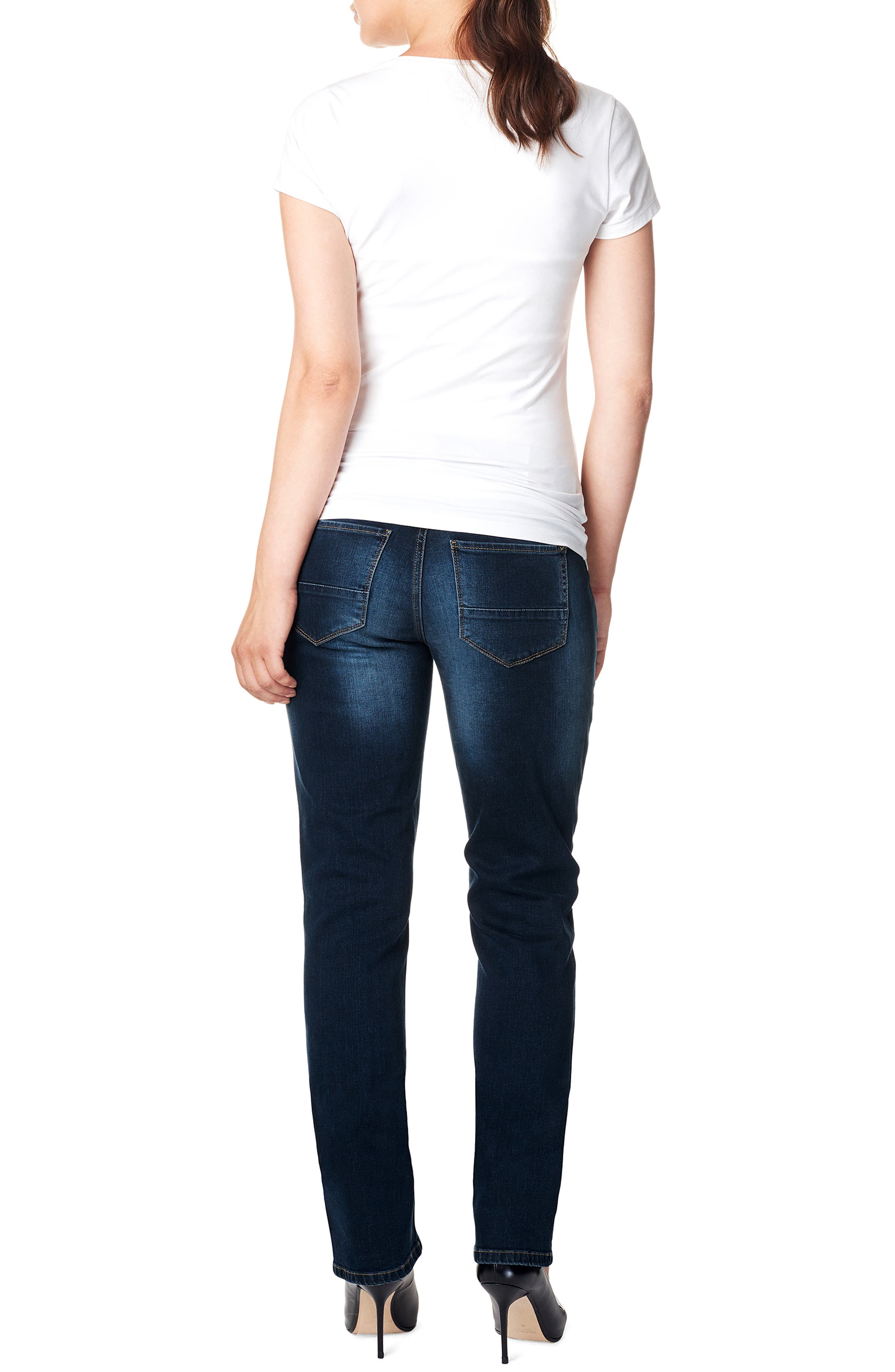 'Mena Comfort' Over the Belly Straight Leg Maternity Jeans,                             Alternate thumbnail 4, color,                             DARK STONE WASH