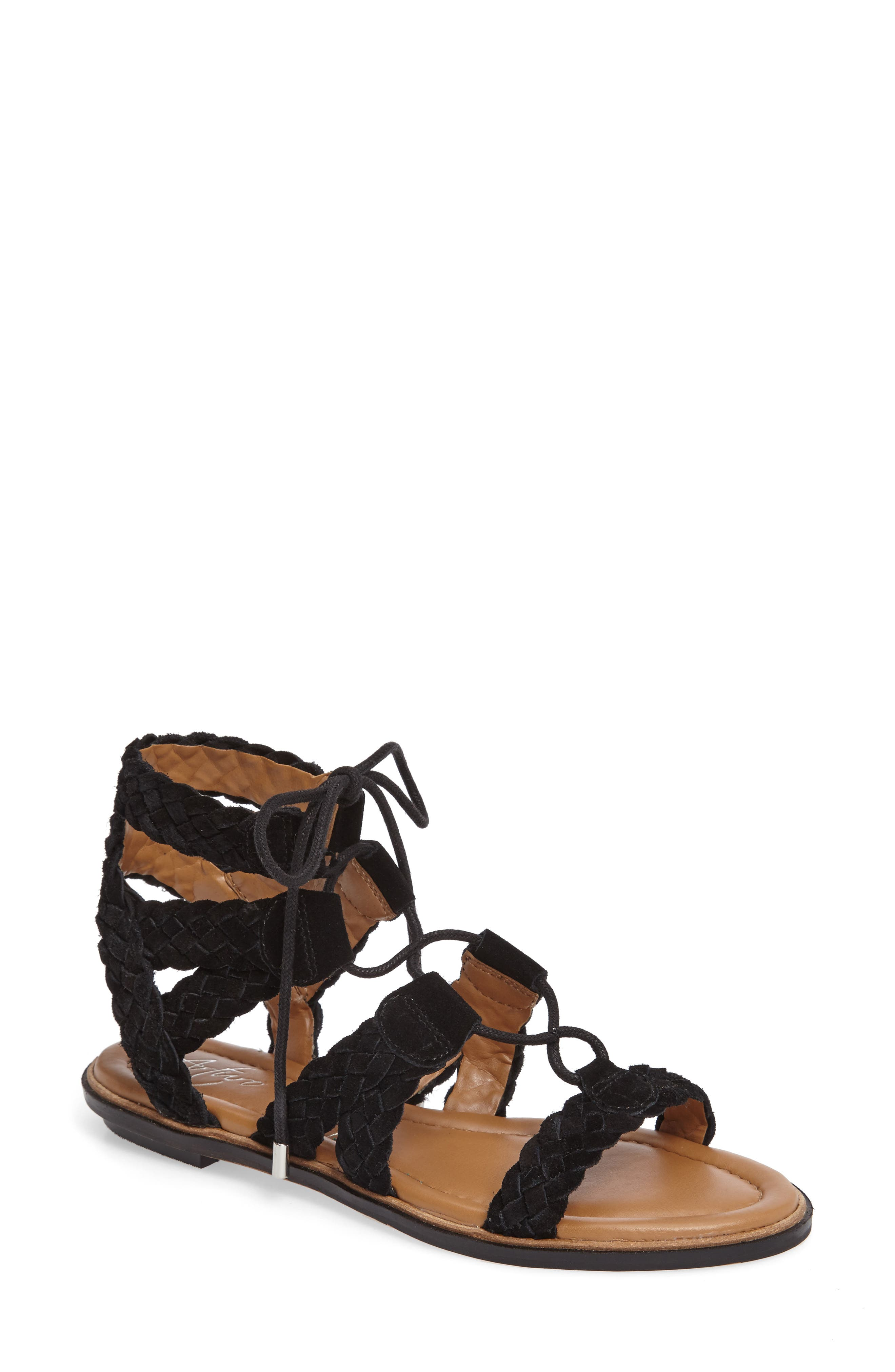 Cassie Lace-Up Sandal,                             Main thumbnail 1, color,                             001