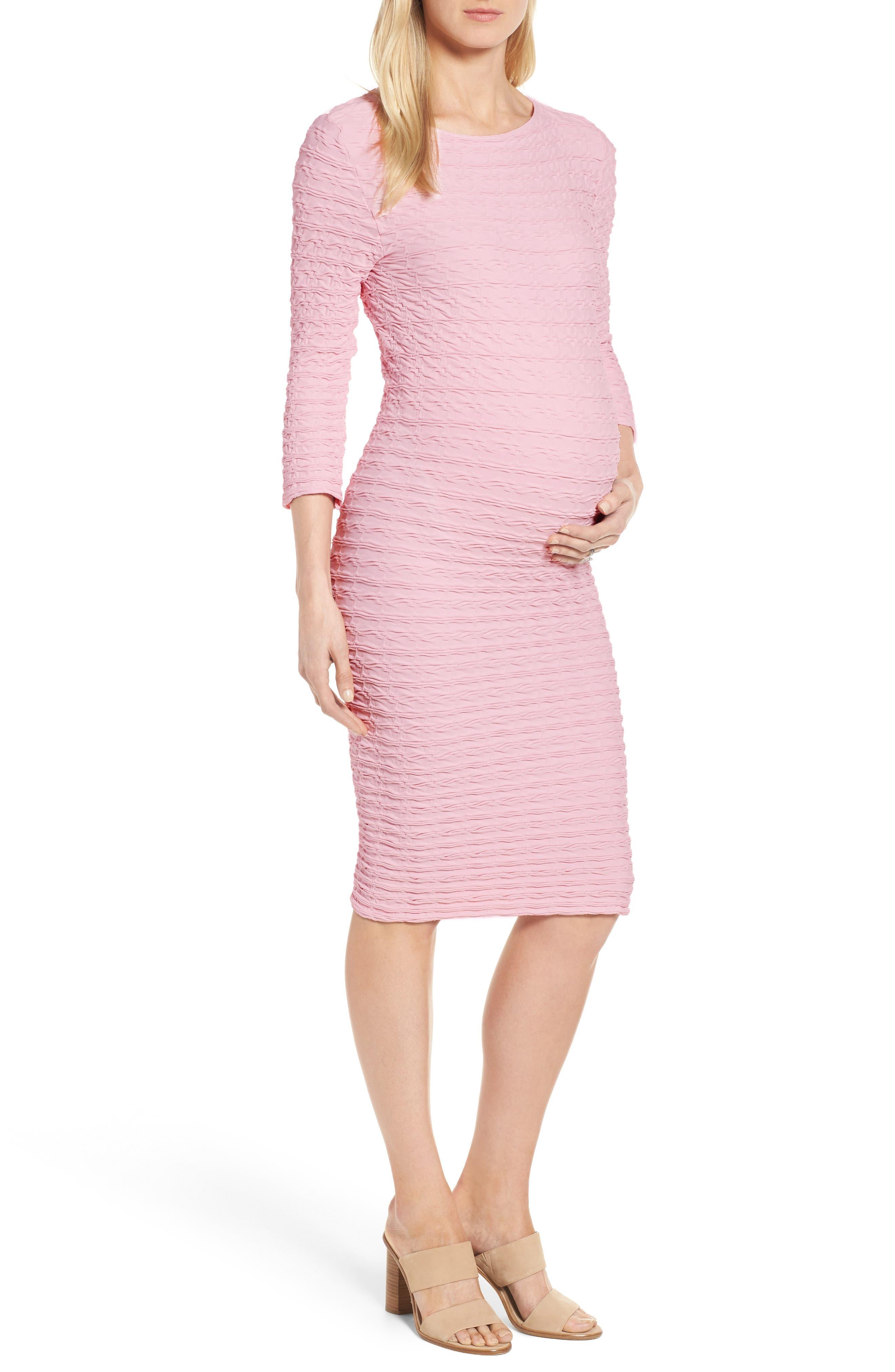 'Crinkle' Maternity Midi Dress,                             Main thumbnail 2, color,