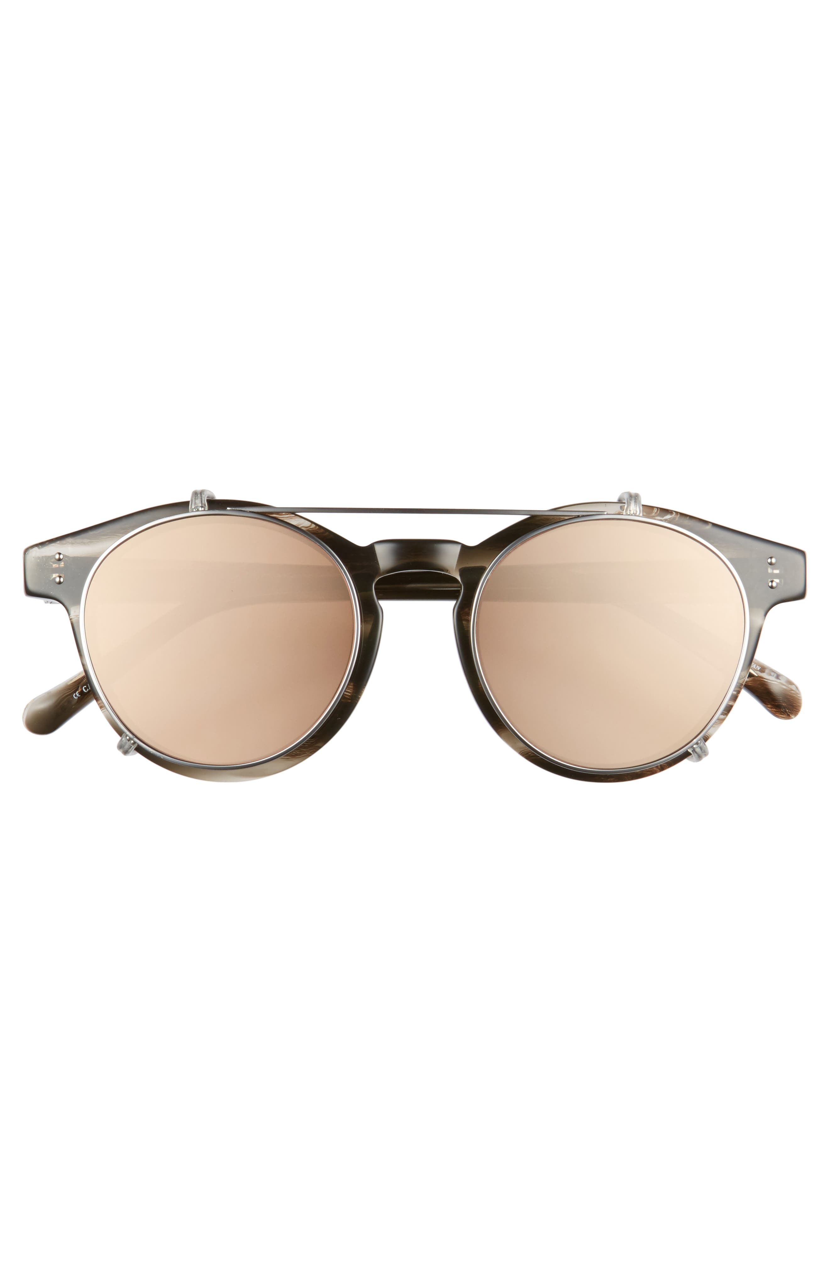 47mm Optical Glasses with Clip-On 18 Karat Rose Gold Trim Sunglasses,                             Alternate thumbnail 3, color,                             020