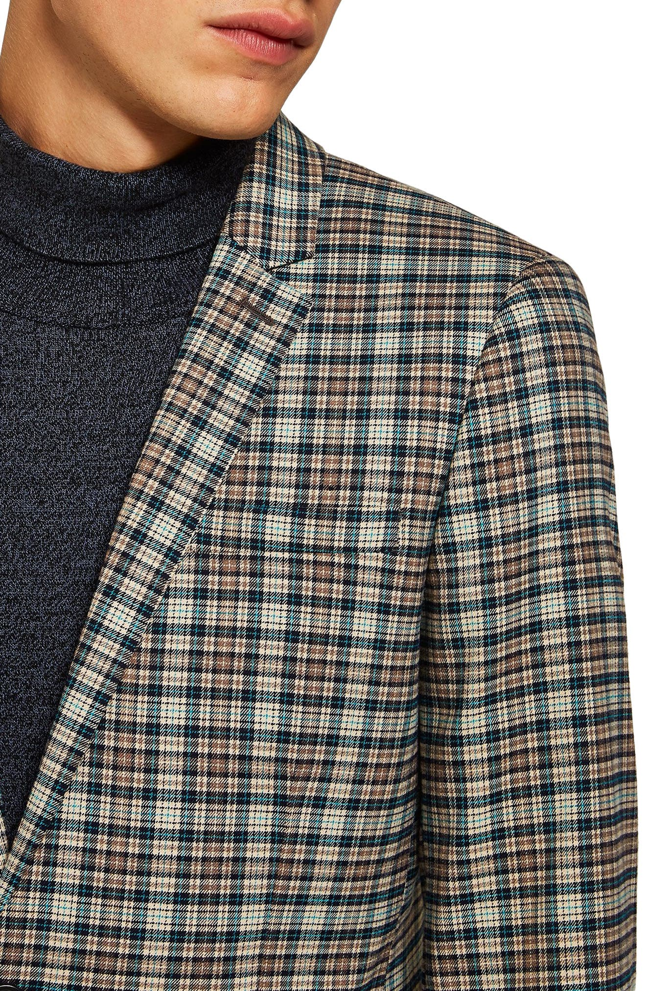 Ultra Skinny Fit Check Suit Jacket,                             Alternate thumbnail 4, color,                             BLACK MULTI