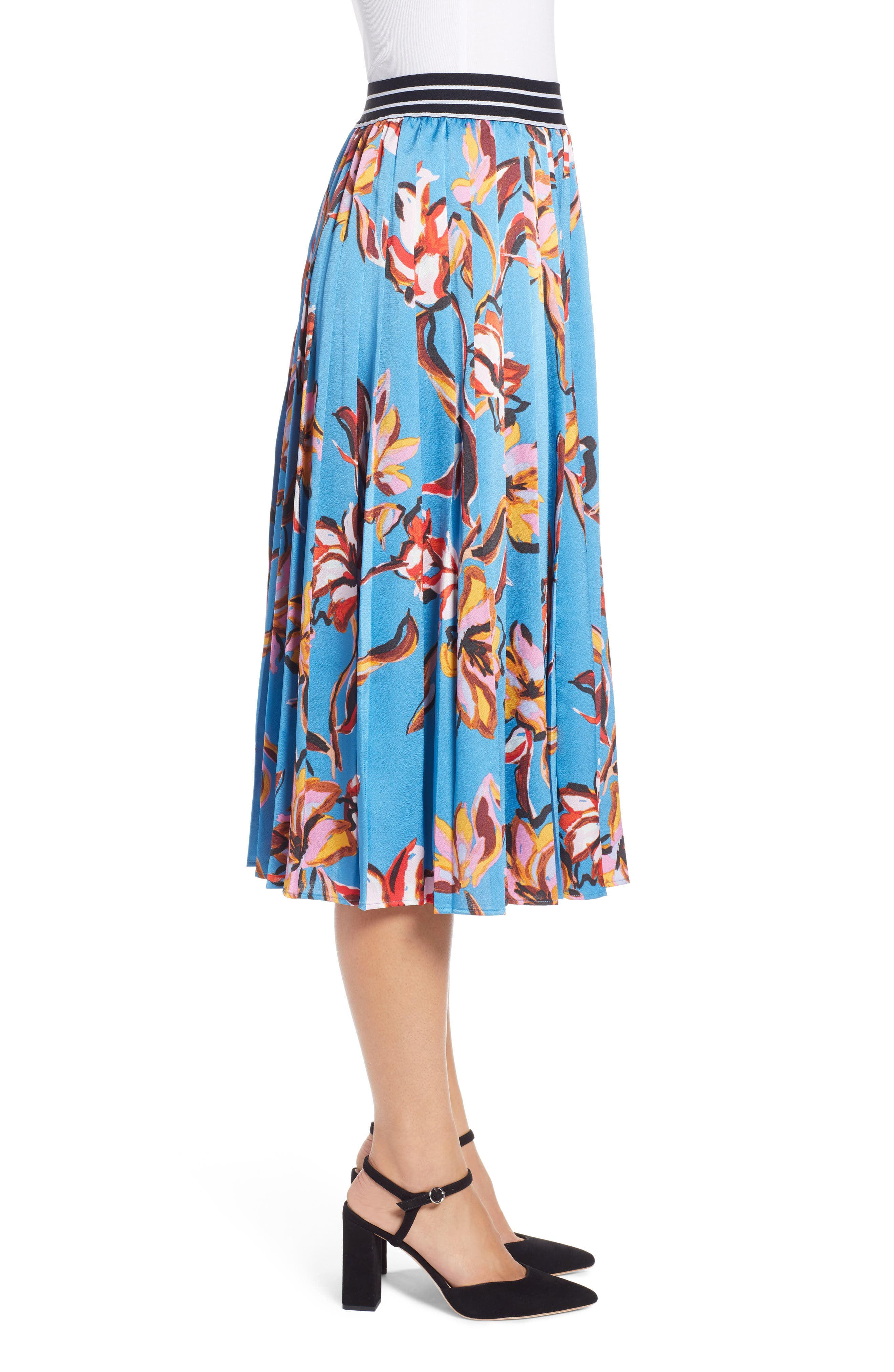 HALOGEN<SUP>®</SUP>,                             Printed Pleated Skirt,                             Alternate thumbnail 3, color,                             420