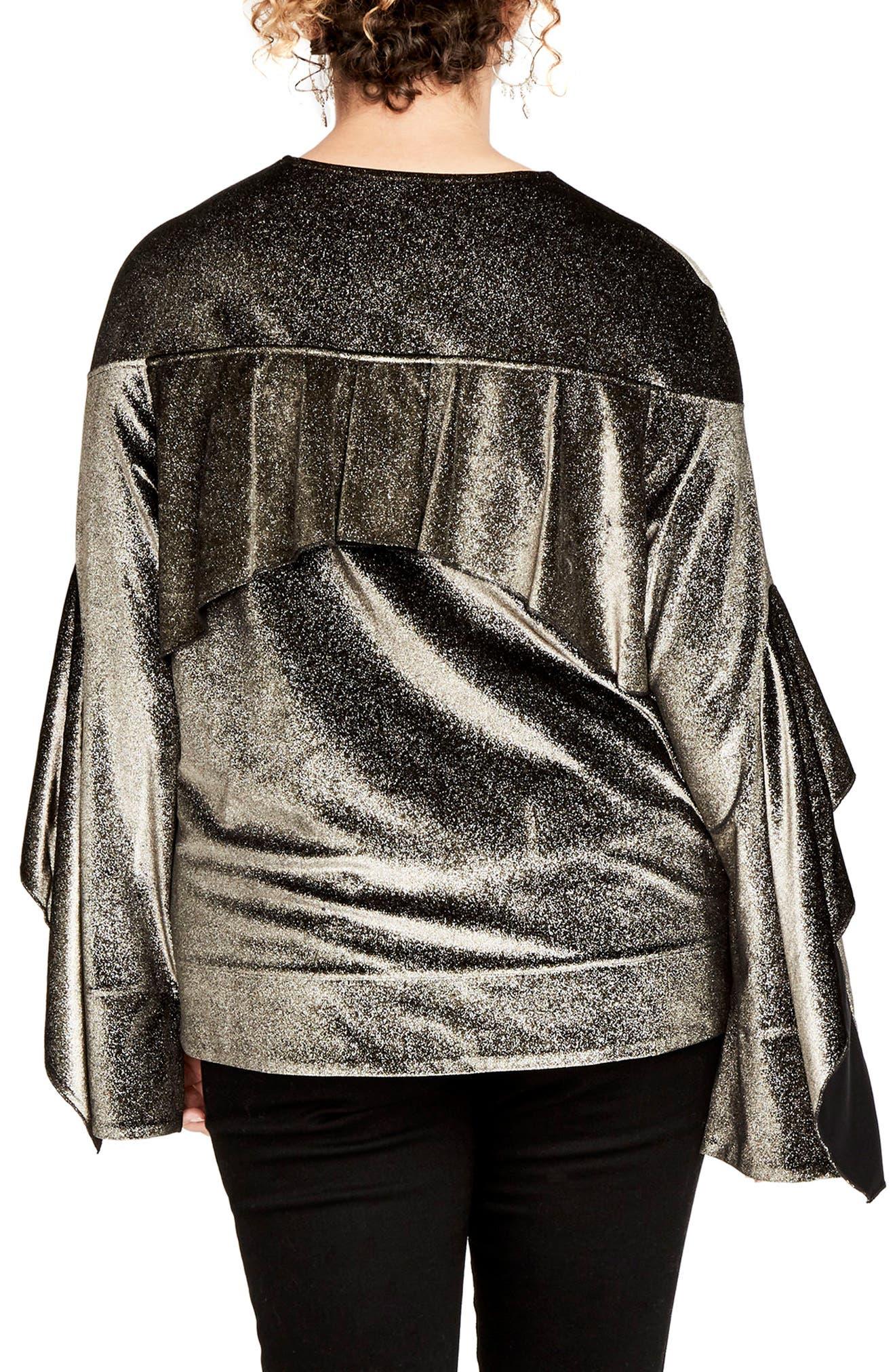 Ruffle Sleeve Metallic Sweatshirt,                             Alternate thumbnail 2, color,                             223
