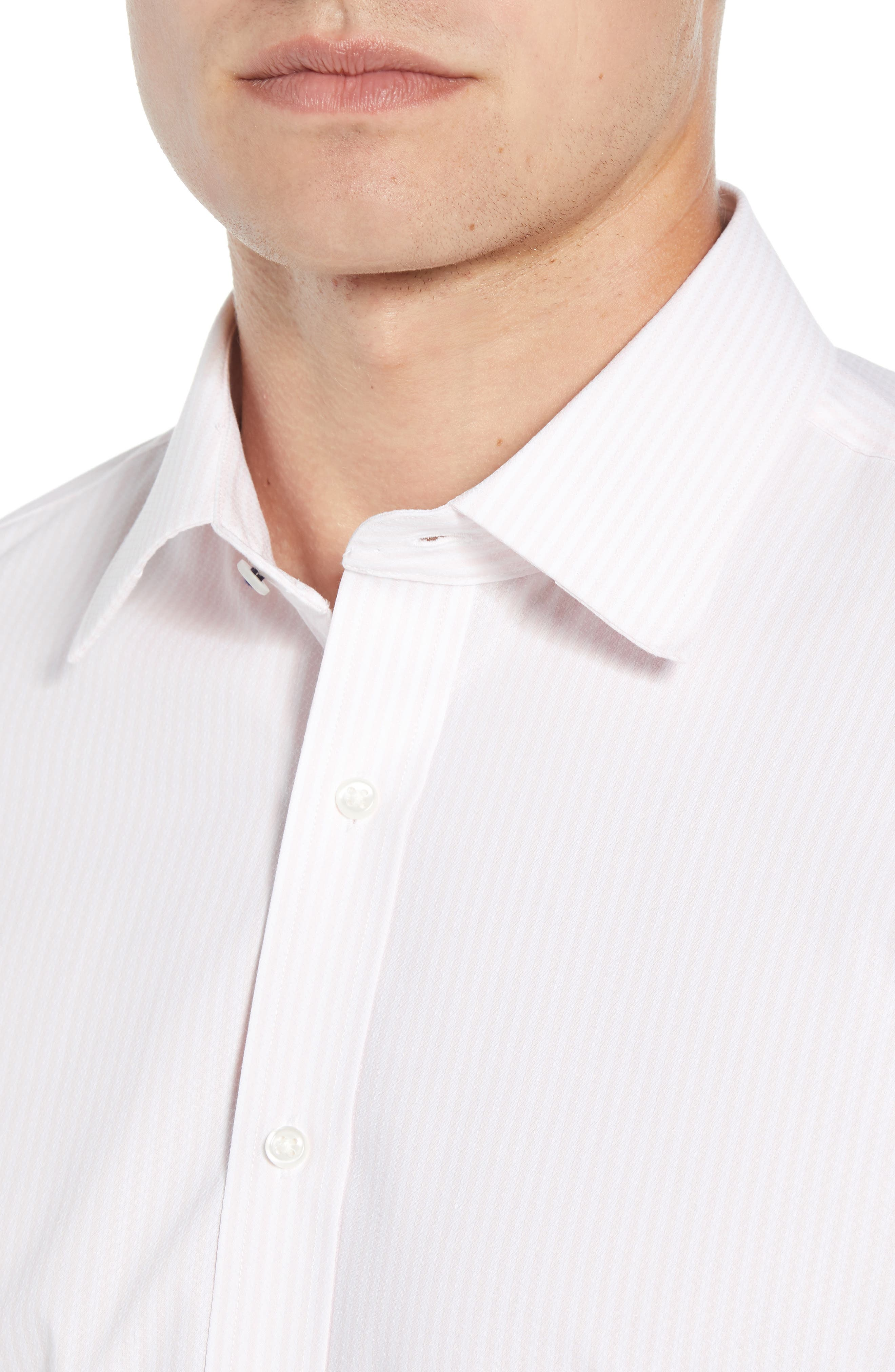 Tech-Smart Traditional Fit Stripe Stretch Dress Shirt,                             Alternate thumbnail 6, color,