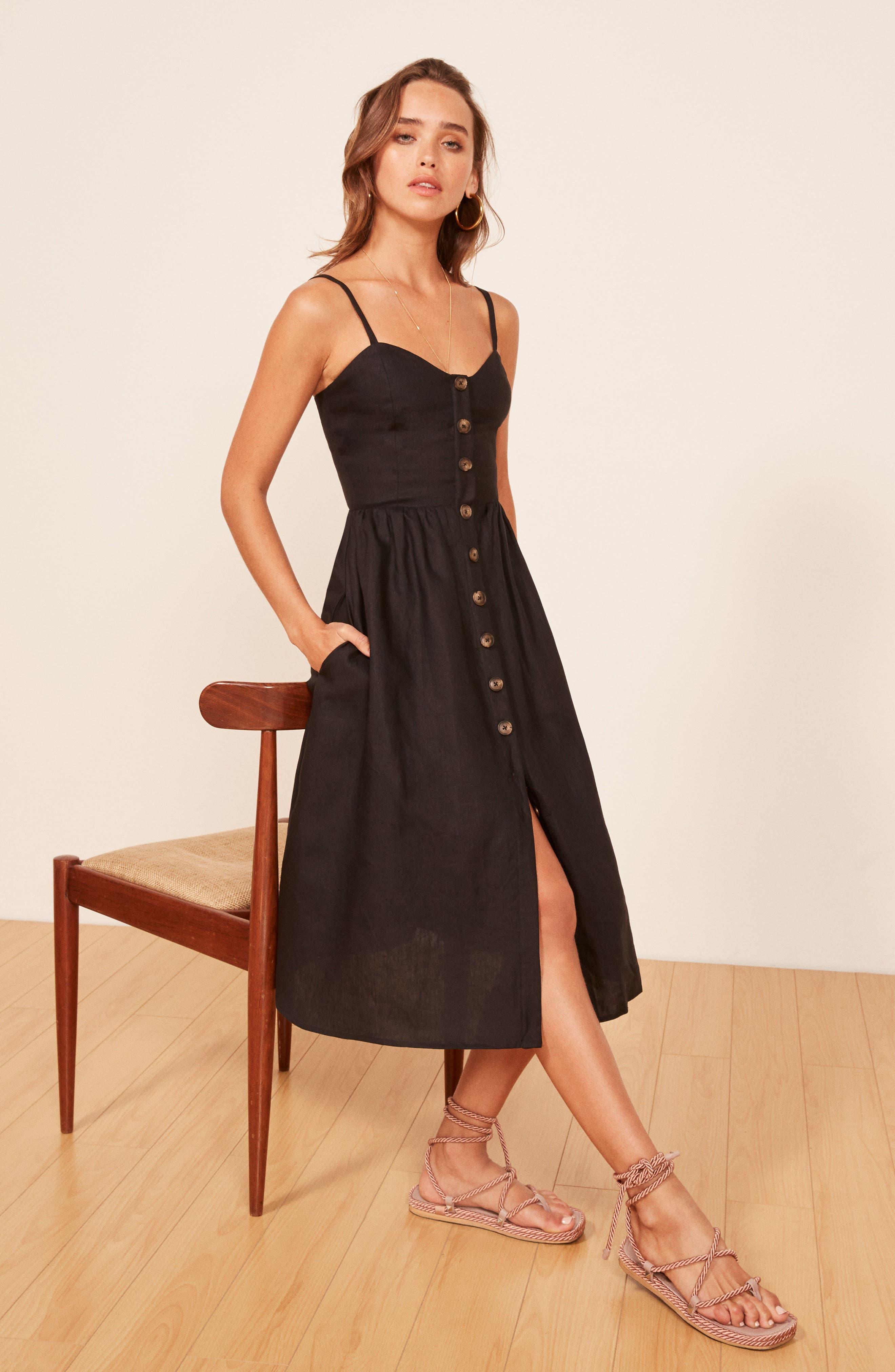 Thelma Linen Midi Dress,                             Alternate thumbnail 4, color,                             001