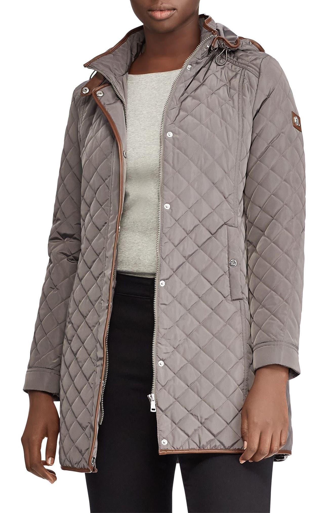LAUREN RALPH LAUREN Quilted Hooded Coat, Main, color, 027