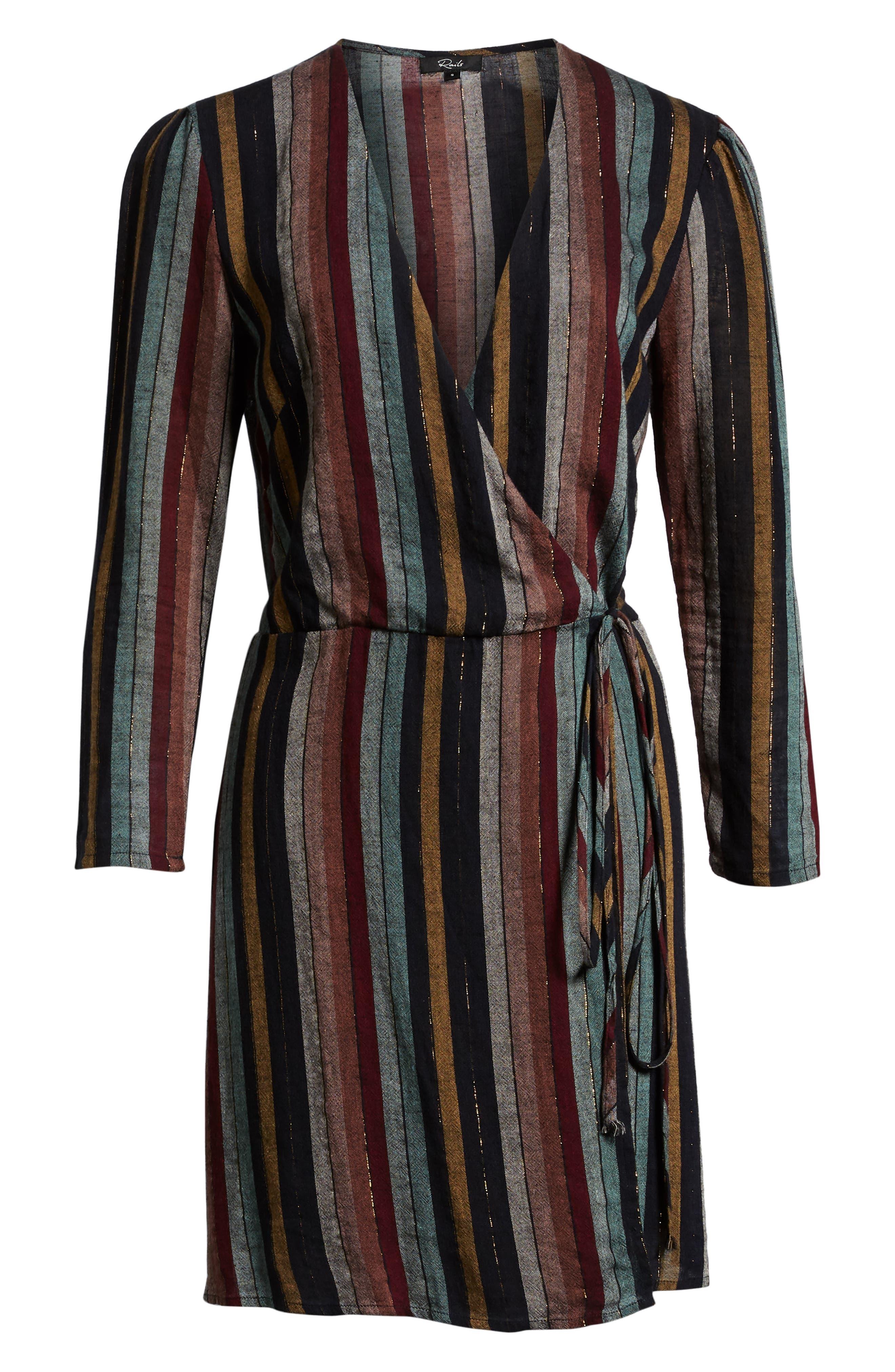 Lola Metallic Wrap Dress,                             Alternate thumbnail 8, color,                             VARADERO STRIPE