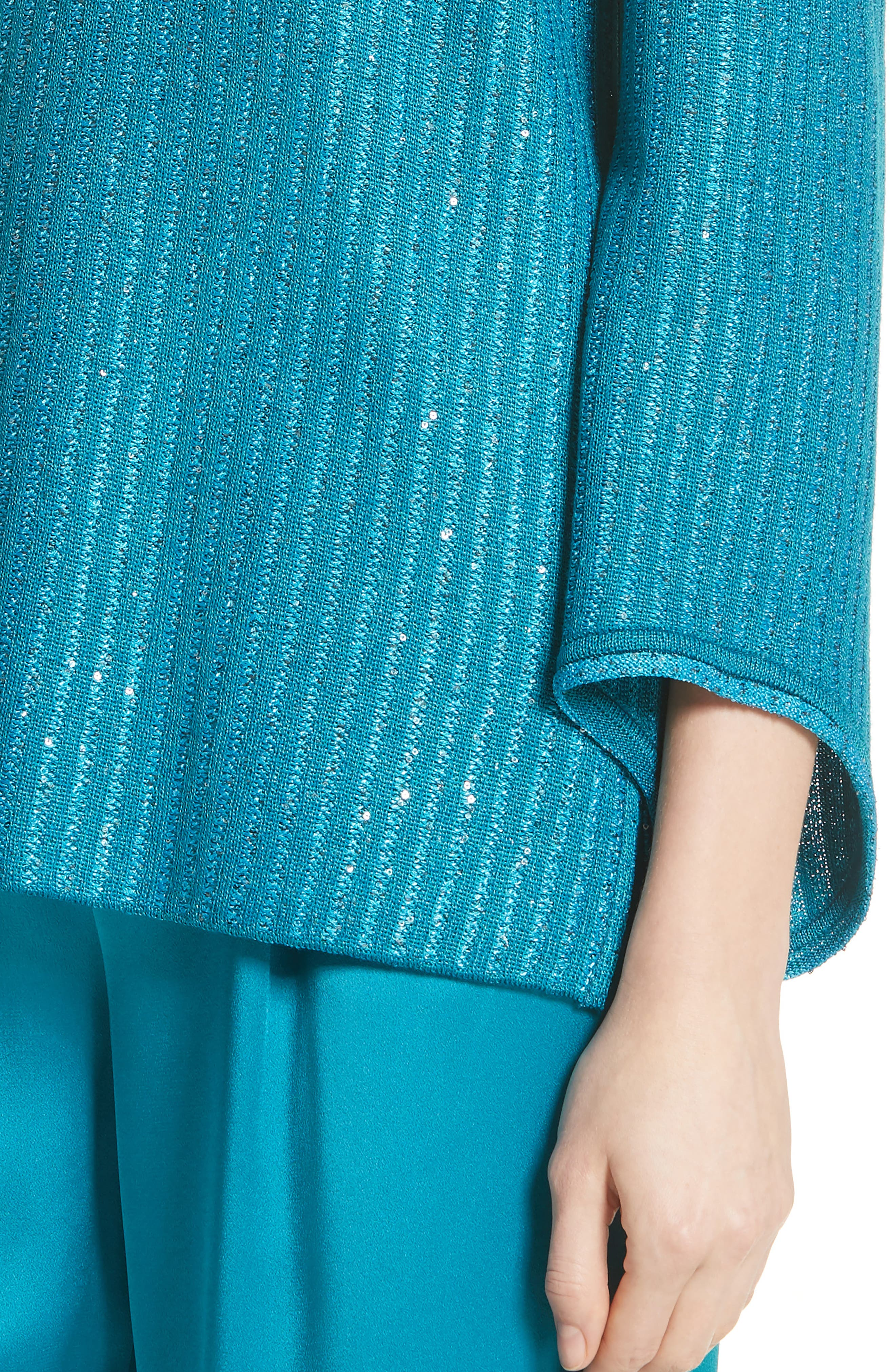 Sequin Rib Knit Sweater,                             Alternate thumbnail 4, color,                             CERULEAN