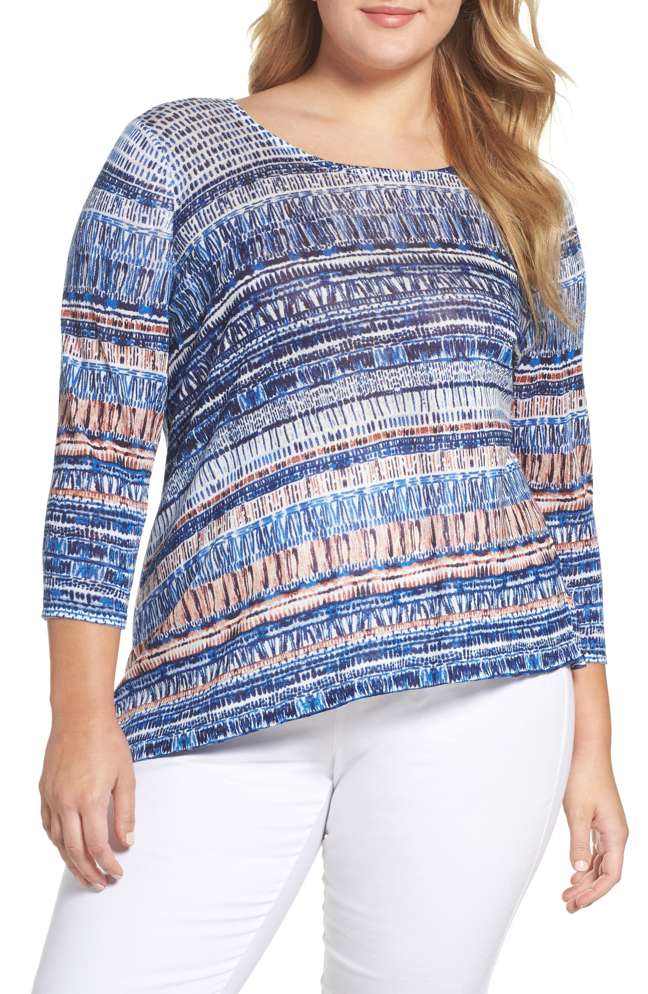 Oceanside Print Linen Blend Sweater,                         Main,                         color, MULTI