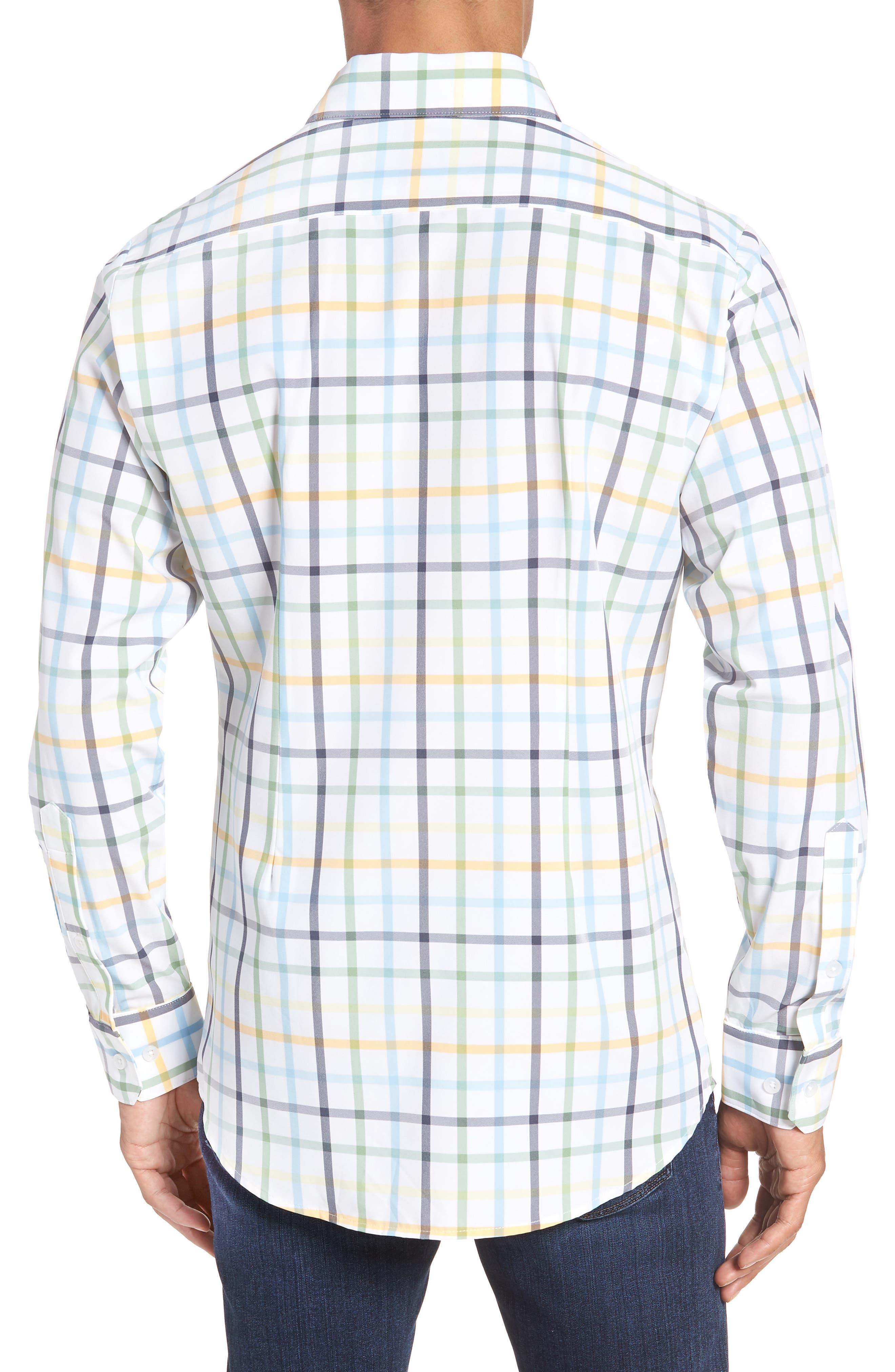 Carson Check Performance Sport Shirt,                             Alternate thumbnail 2, color,                             BLUE