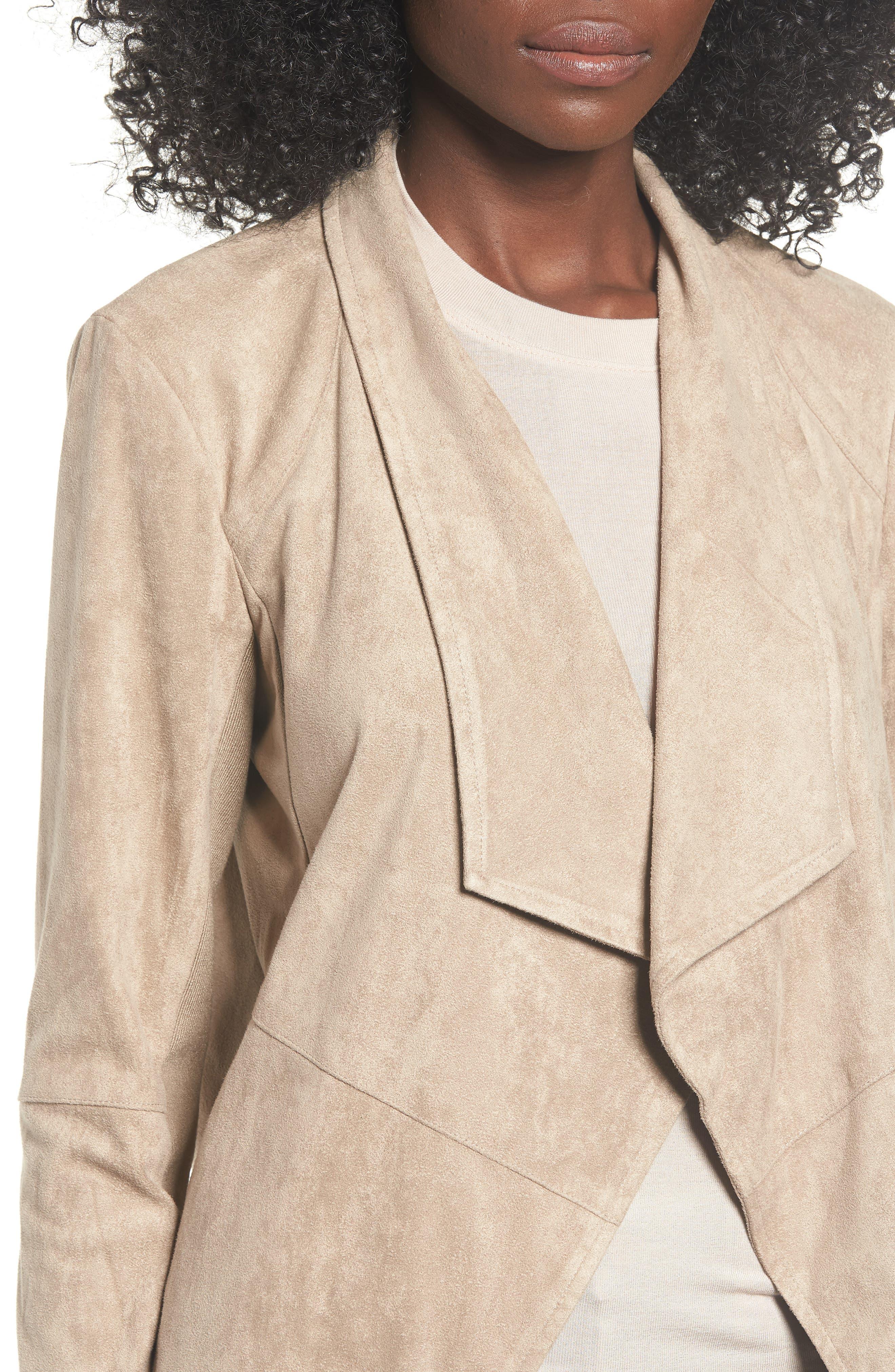 Nicholson Faux Suede Drape Front Jacket,                             Alternate thumbnail 4, color,                             WARM STONE