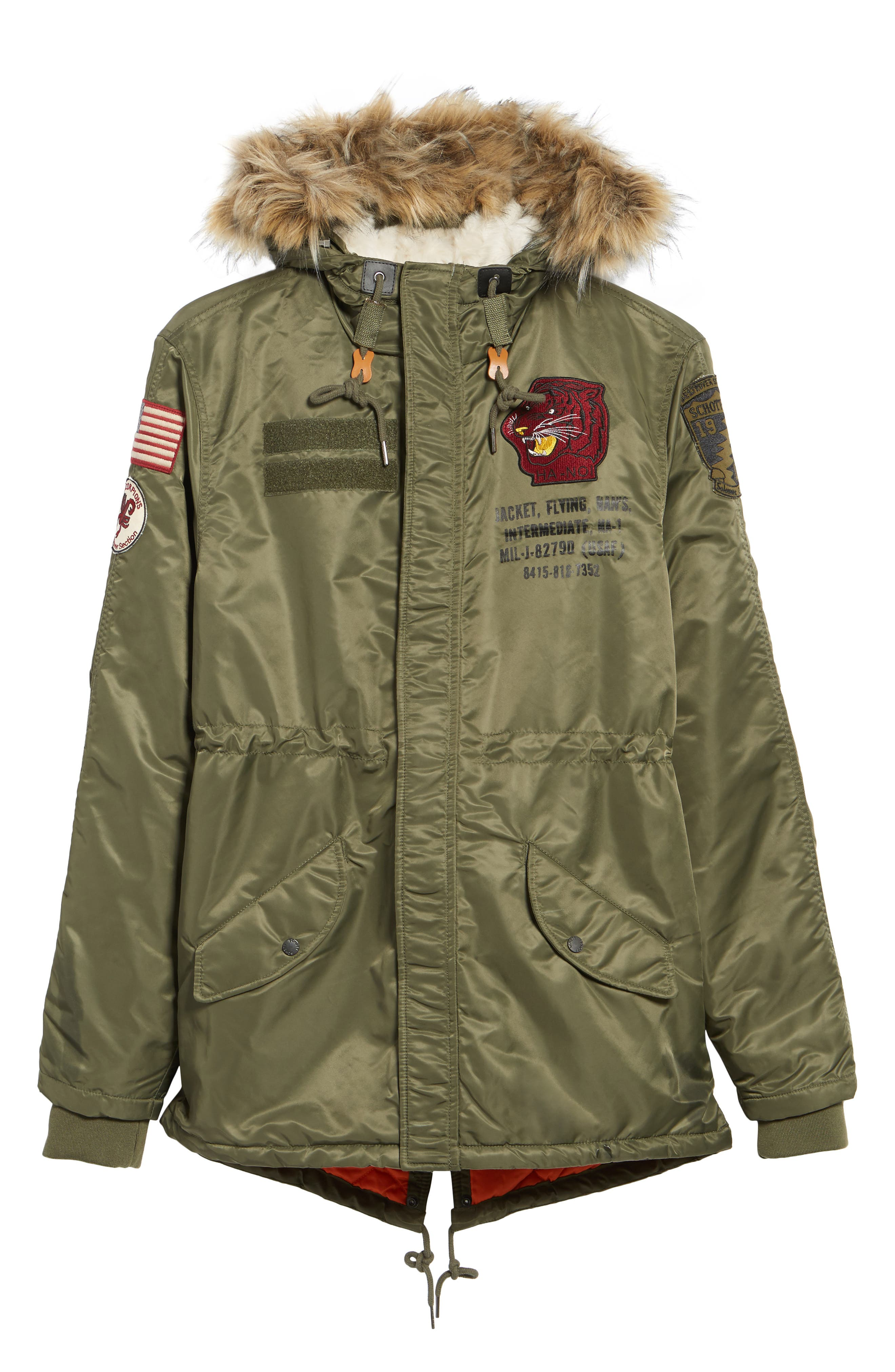 N3-B Snorkel Flight Jacket with Faux Fur Trim & Lining,                             Alternate thumbnail 10, color,