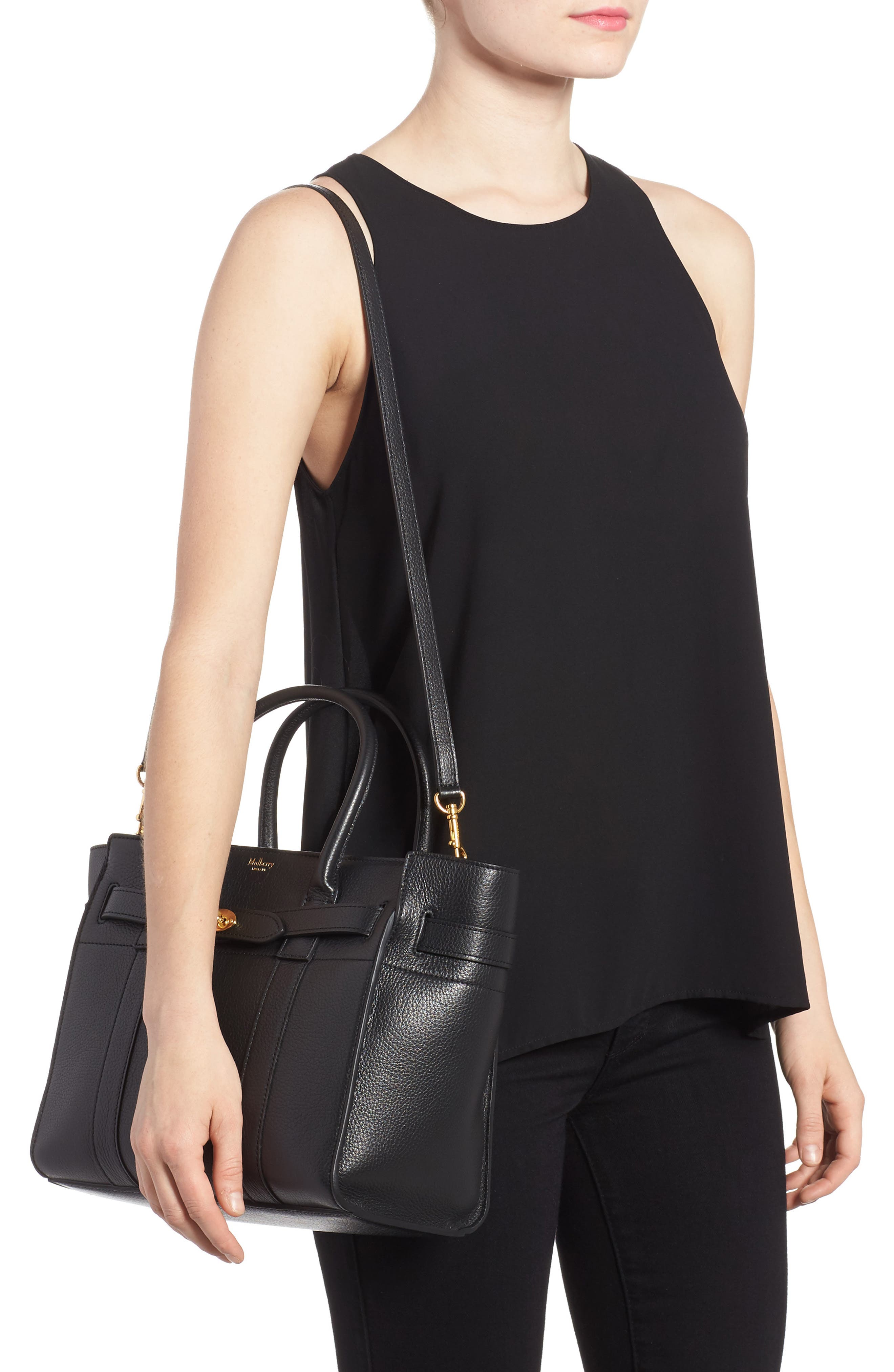 Small Zip Bayswater Classic Leather Tote,                             Alternate thumbnail 2, color,                             001