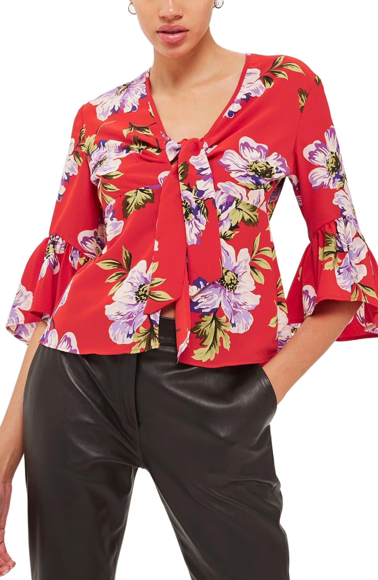 Felicity Tie Front Blouse,                             Main thumbnail 2, color,
