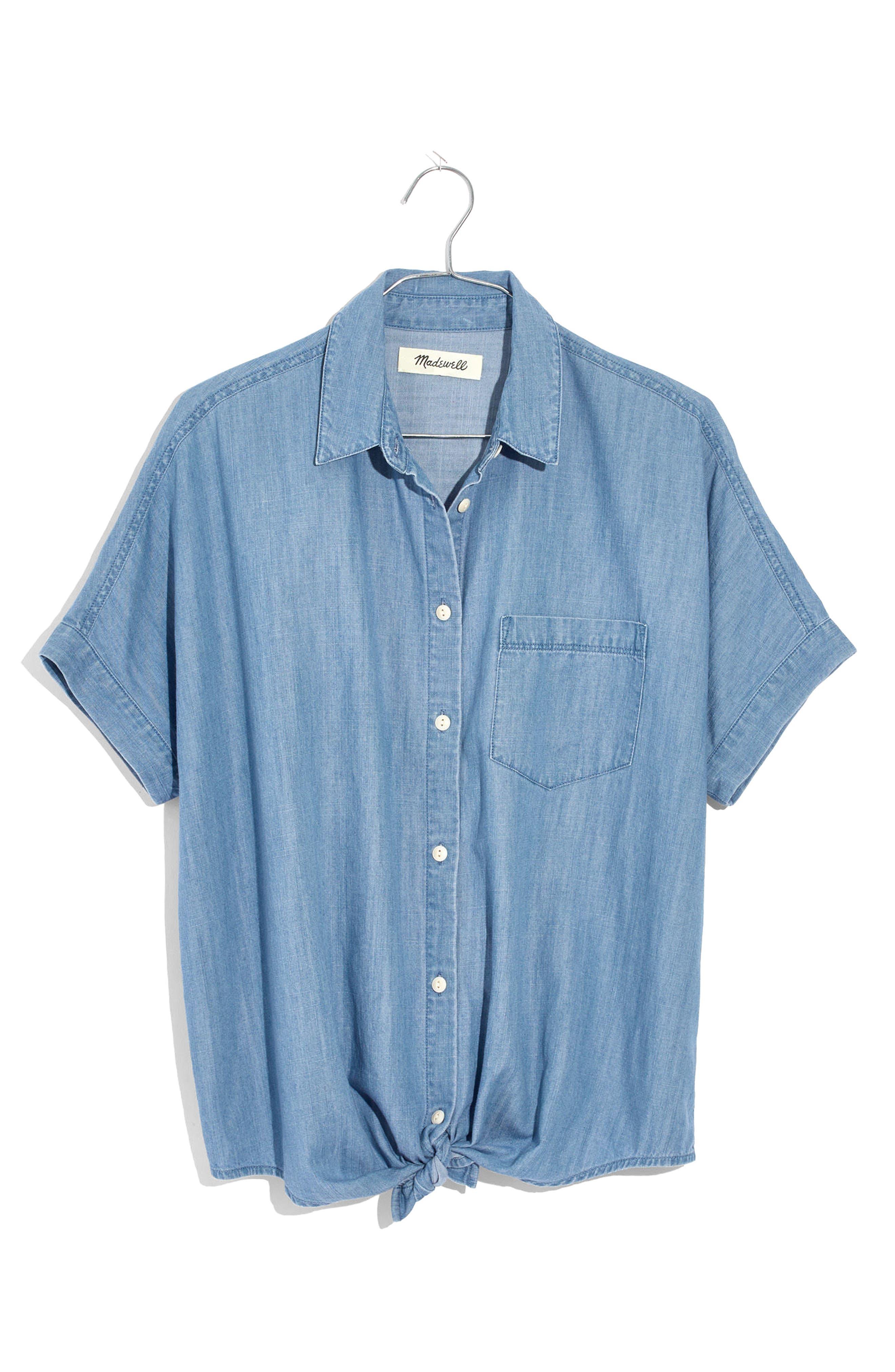 Tie Front Short Sleeve Denim Shirt,                             Alternate thumbnail 4, color,                             400