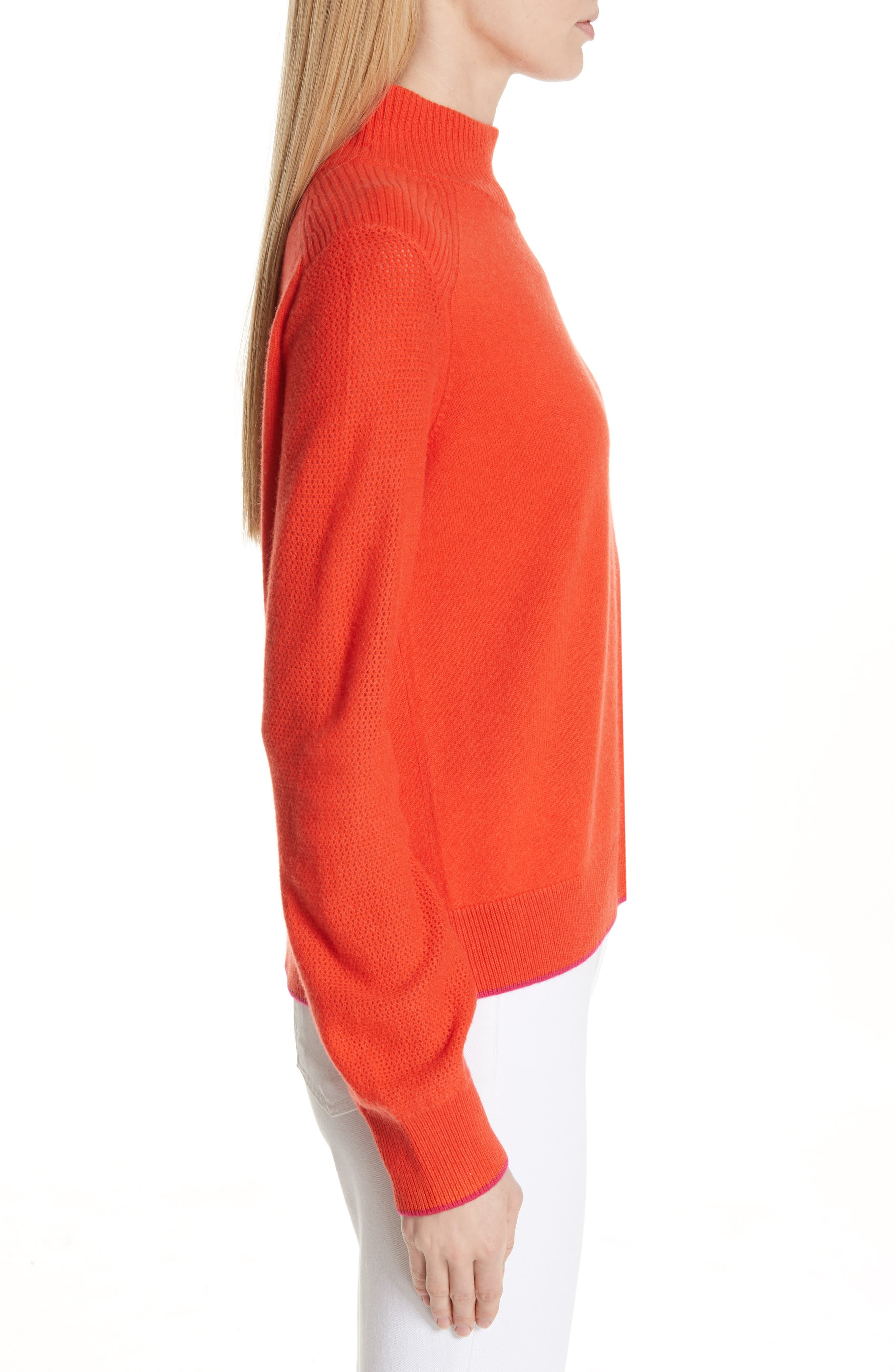 Yorke Cashmere Sweater,                             Alternate thumbnail 3, color,                             RED