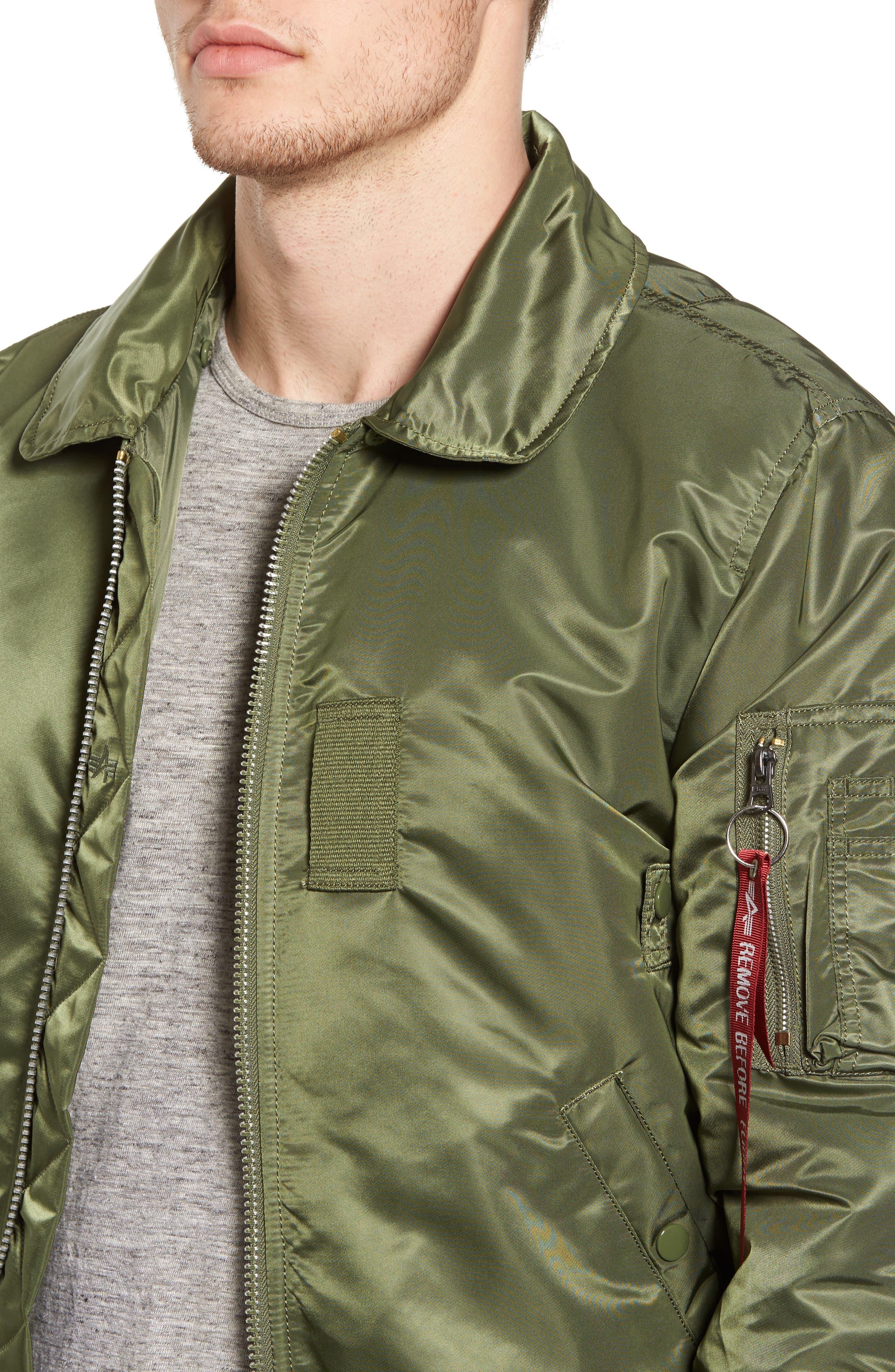 B-15 Removable Faux Fur Collar Flight Jacket,                             Alternate thumbnail 4, color,                             351