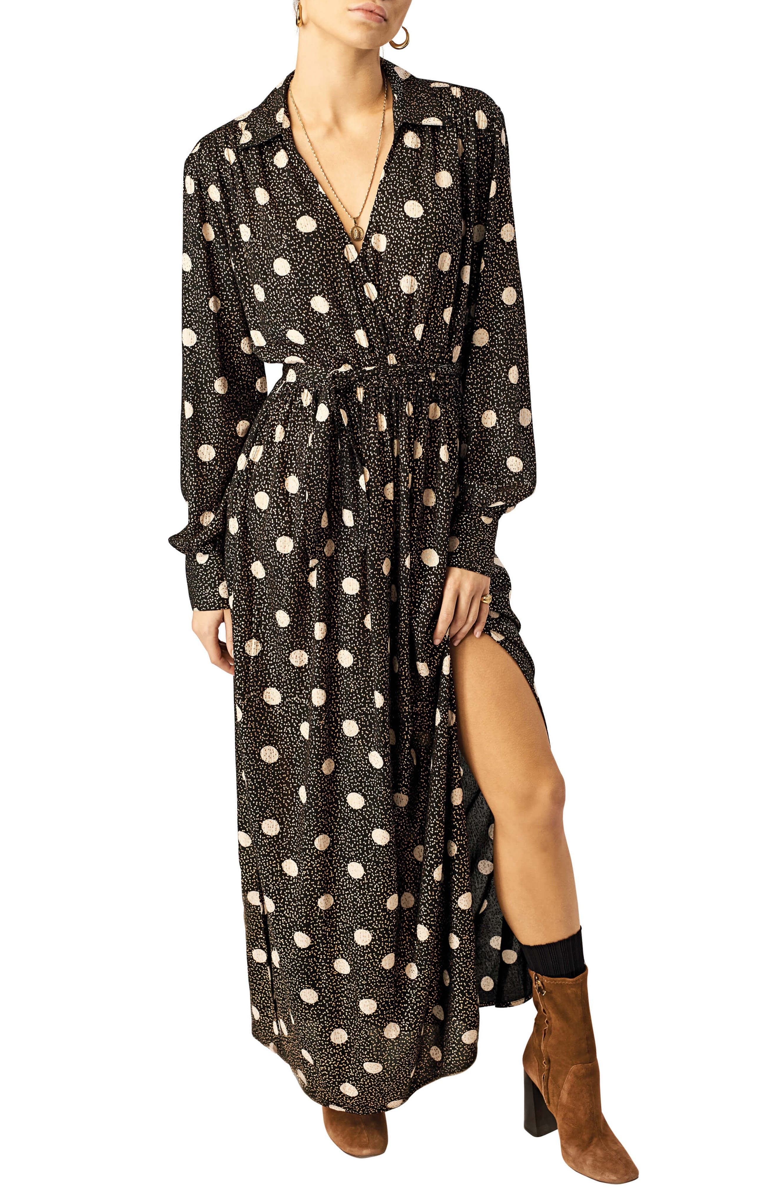 STONE ROW Smoka Dot Surplice Maxi Dress, Main, color, BLACK COMBO