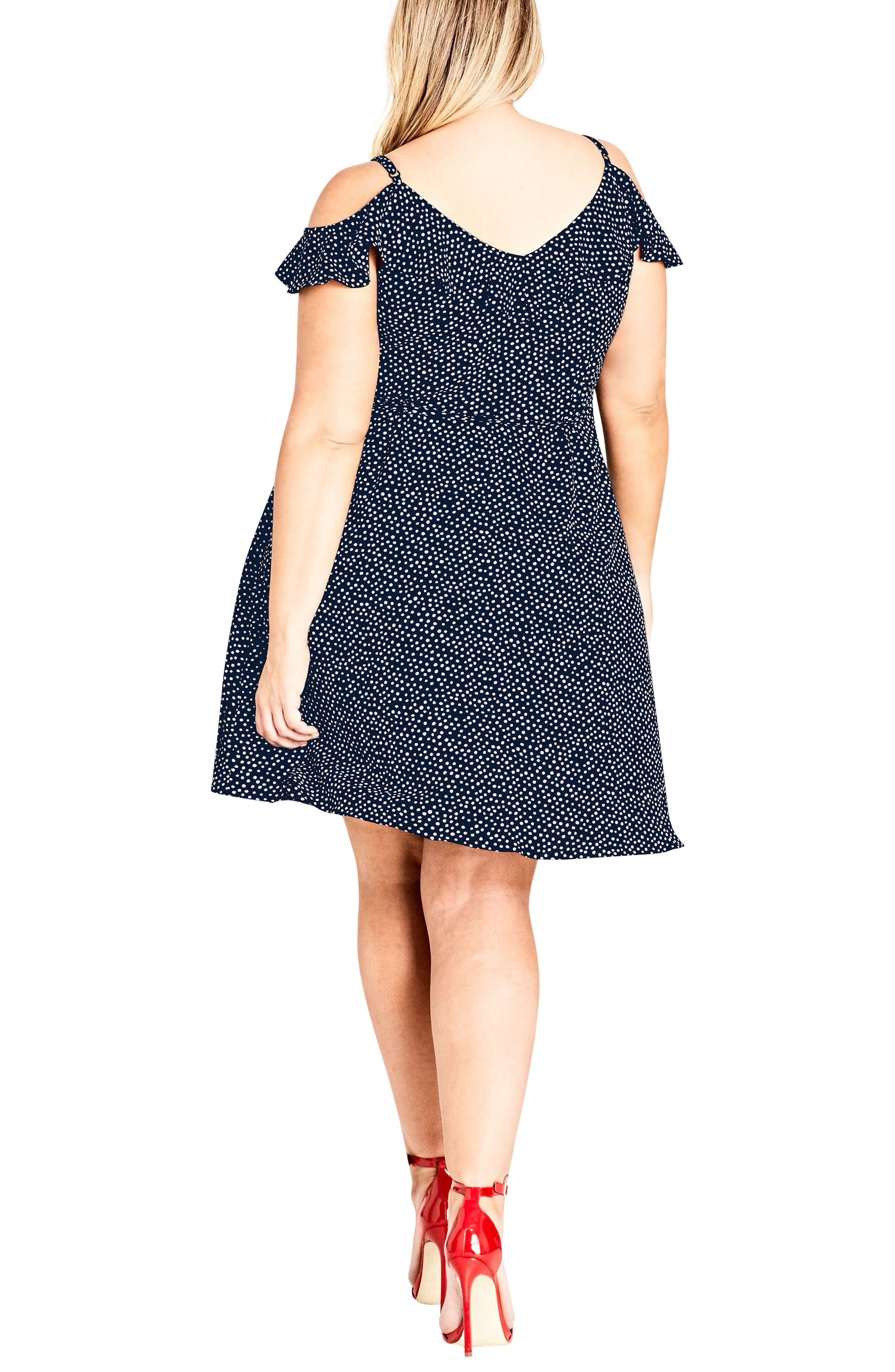 Spot Cold Shoulder Wrap Dress,                             Alternate thumbnail 2, color,                             NAVY SPOT