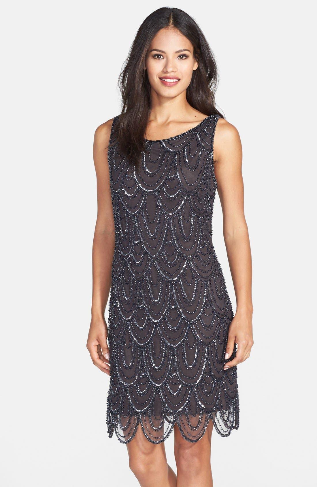 Embellished Mesh Sheath Dress,                             Main thumbnail 10, color,