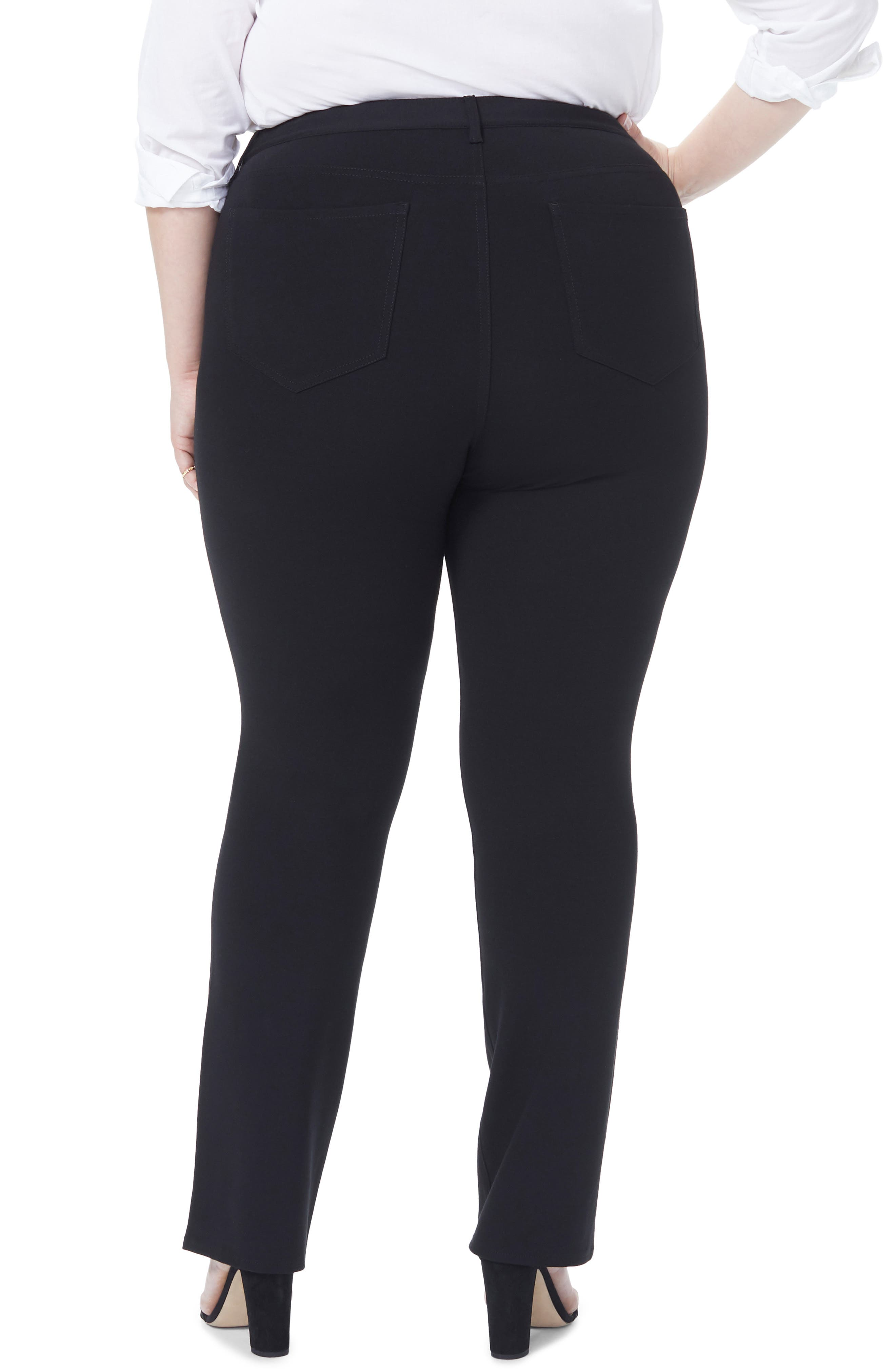 Marilyn Straight Ponte Knit Pants,                             Alternate thumbnail 2, color,                             BLACK