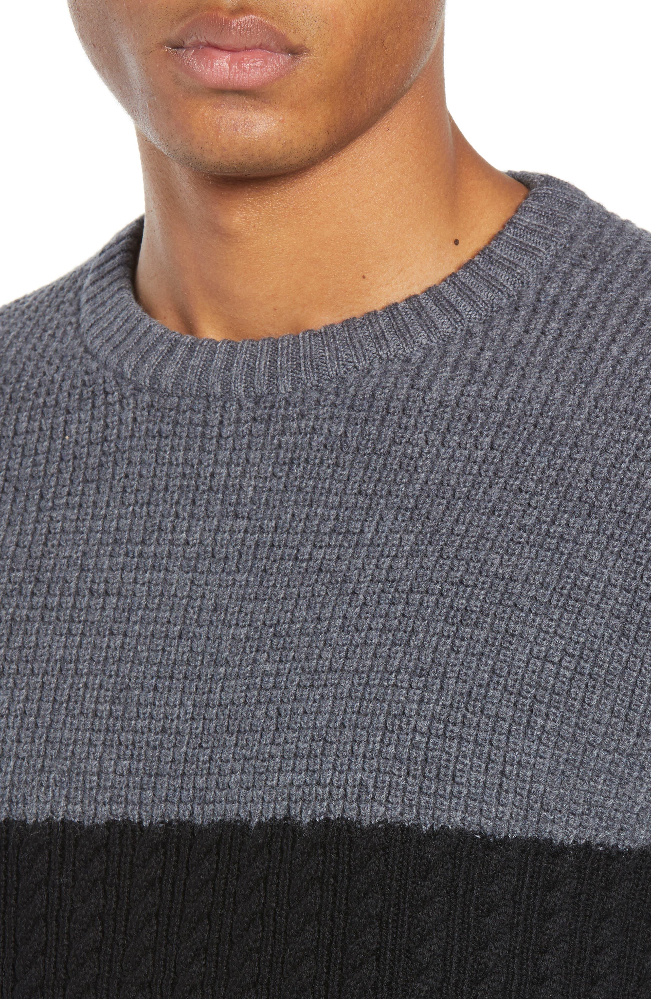 Block Merino Wool Cable Knit Sweater,                             Alternate thumbnail 4, color,                             BLACK CAVIAR COLORBLOCK