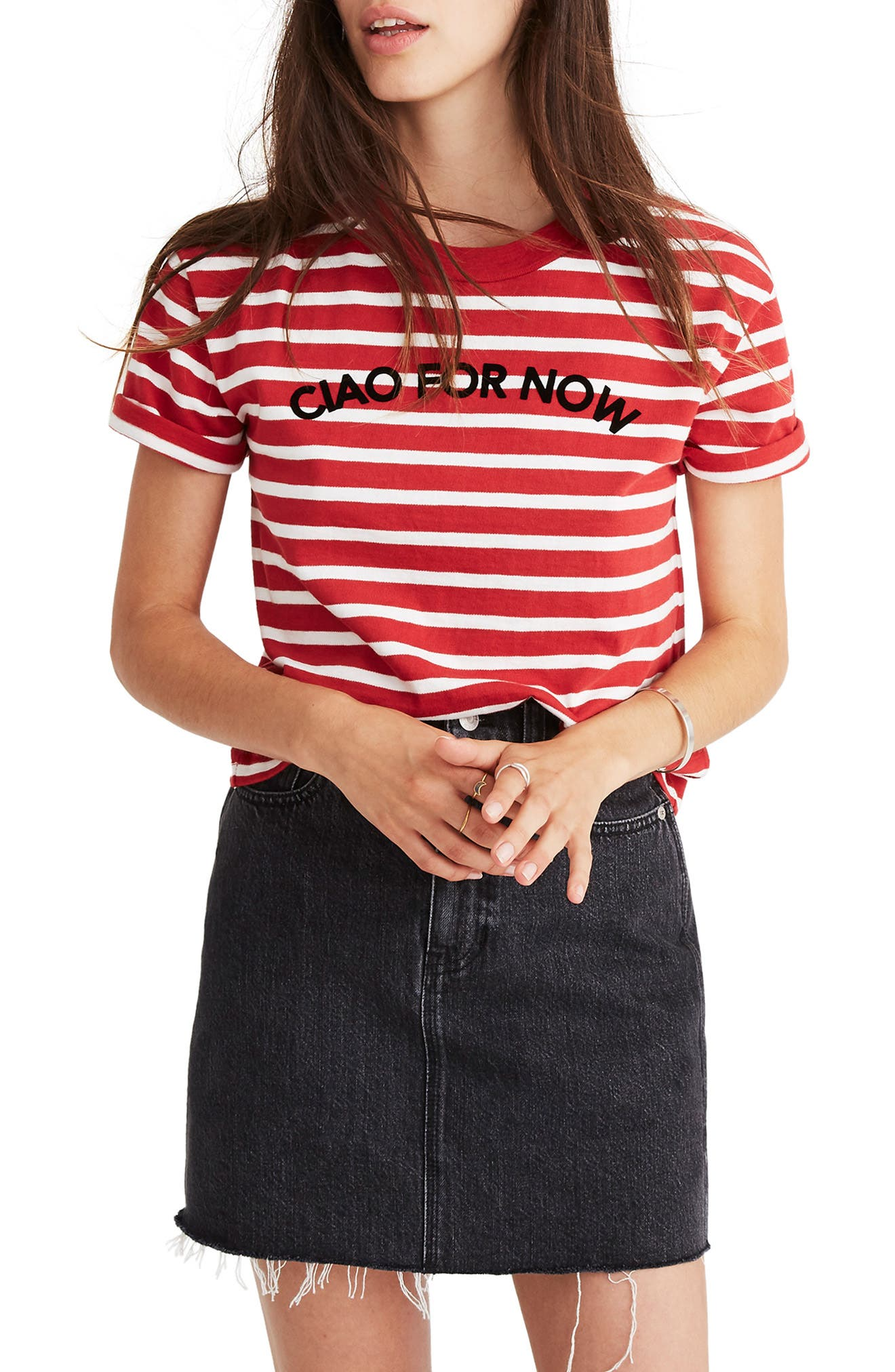 MADEWELL,                             Stripe Ciao for Now Tee,                             Main thumbnail 1, color,                             600