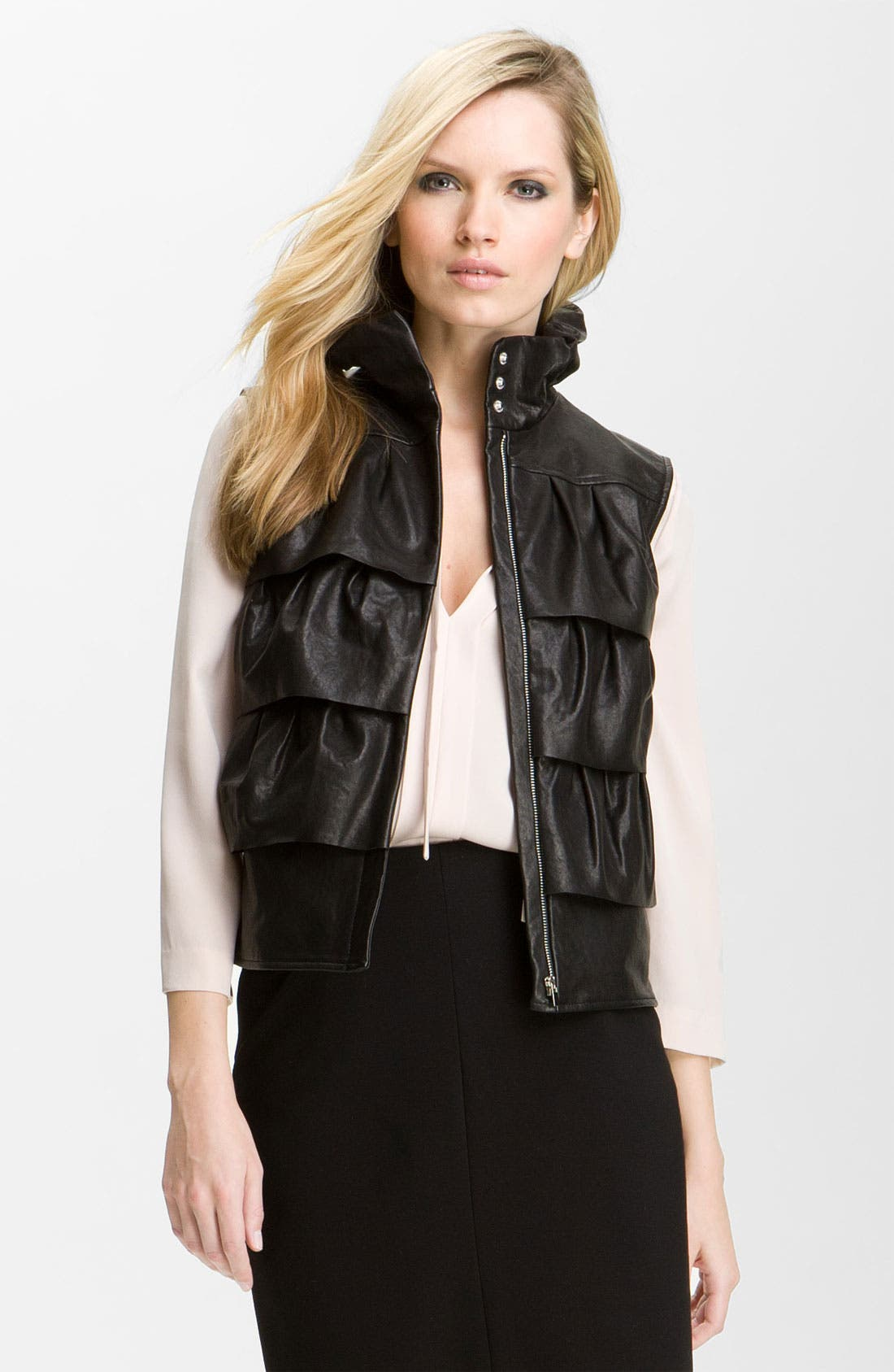 DIANE VON FURSTENBERG,                             'Cupcake' Leather Vest,                             Main thumbnail 1, color,                             001