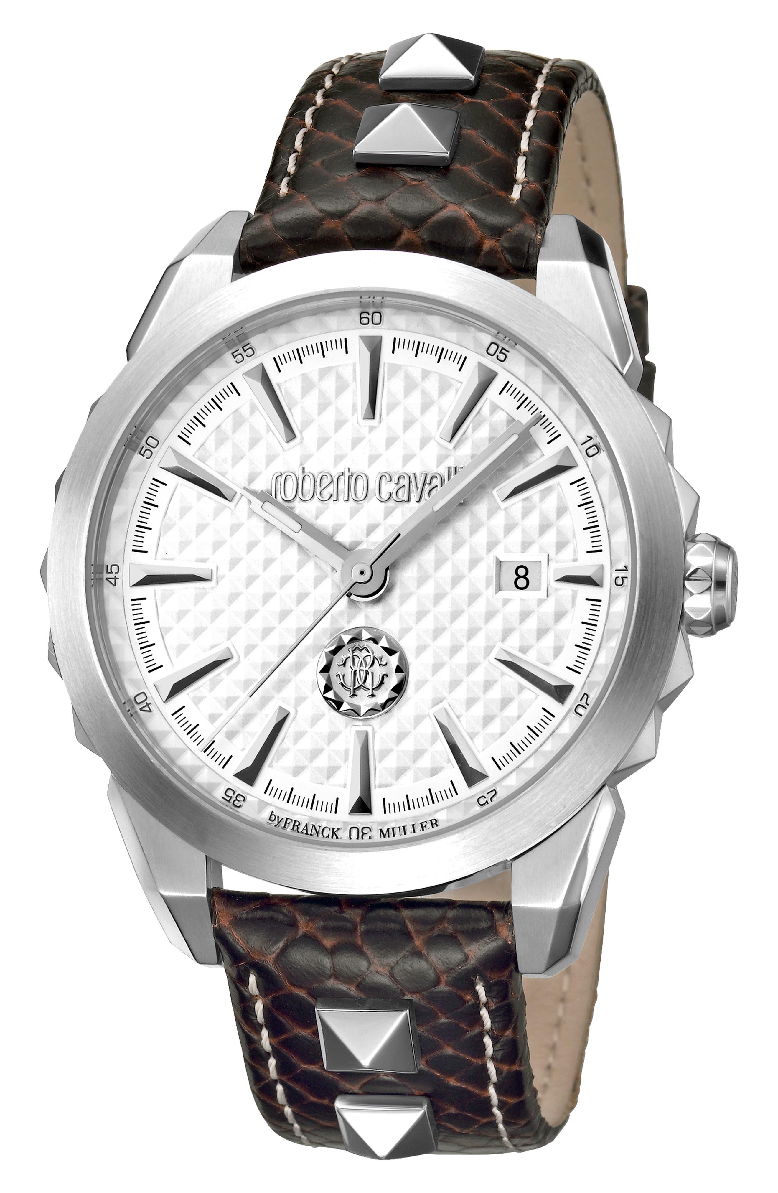 Costellato Leather Strap Watch,                         Main,                         color, BROWN/ SILVER