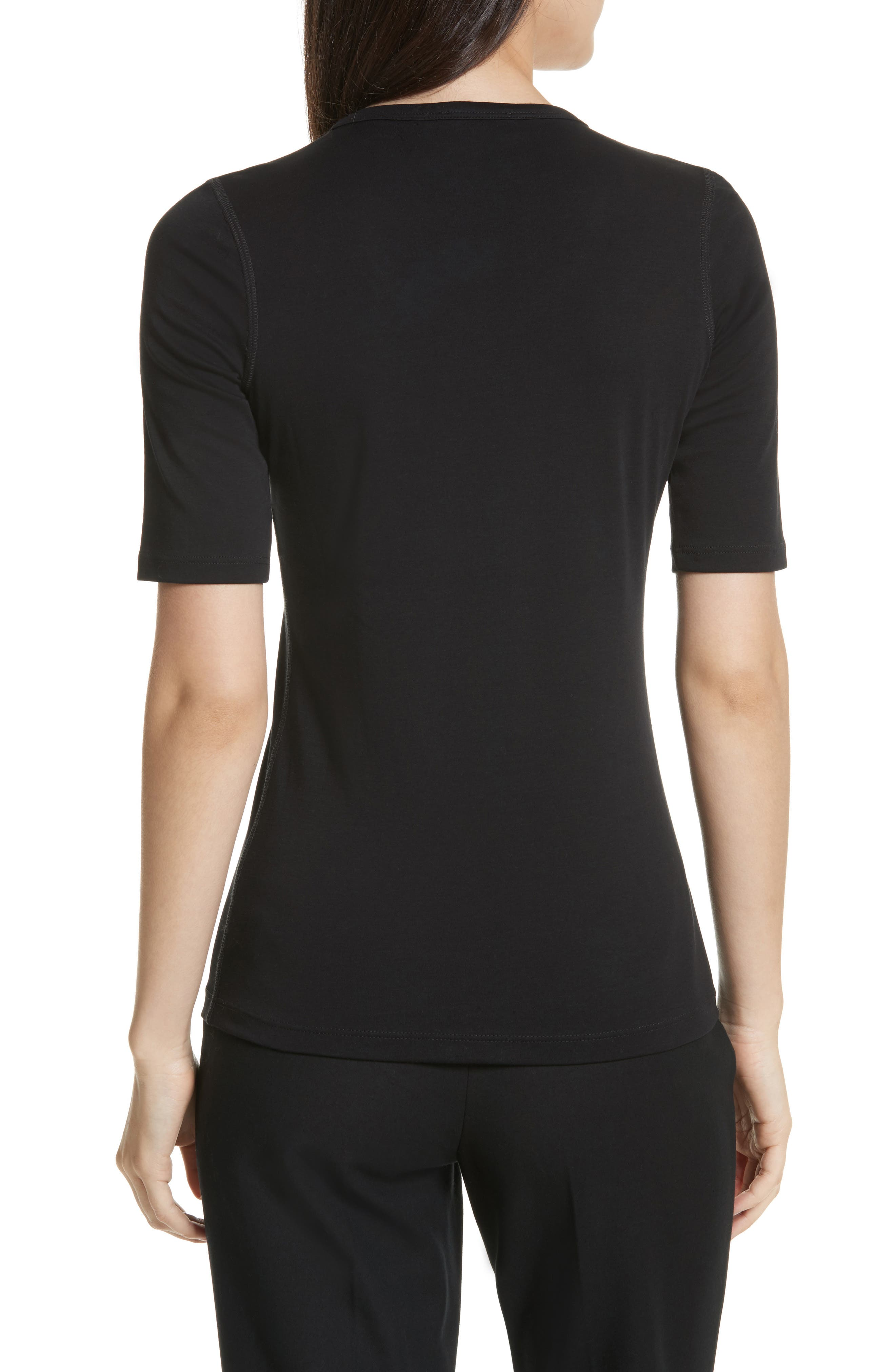 Pima Cotton Top,                             Alternate thumbnail 2, color,                             BLACK