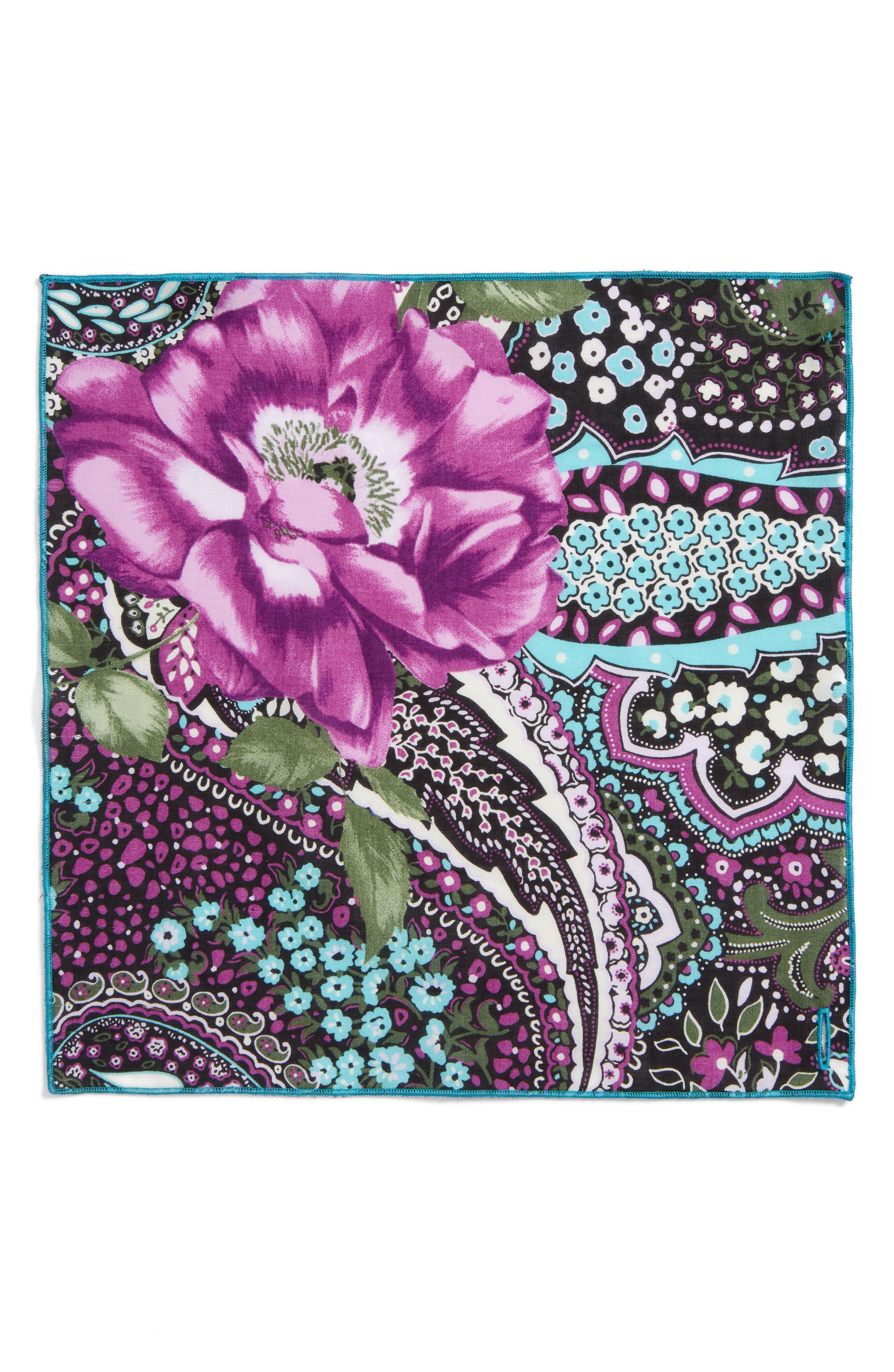 Purple Rose Cotton Pocket Square,                             Alternate thumbnail 2, color,                             500
