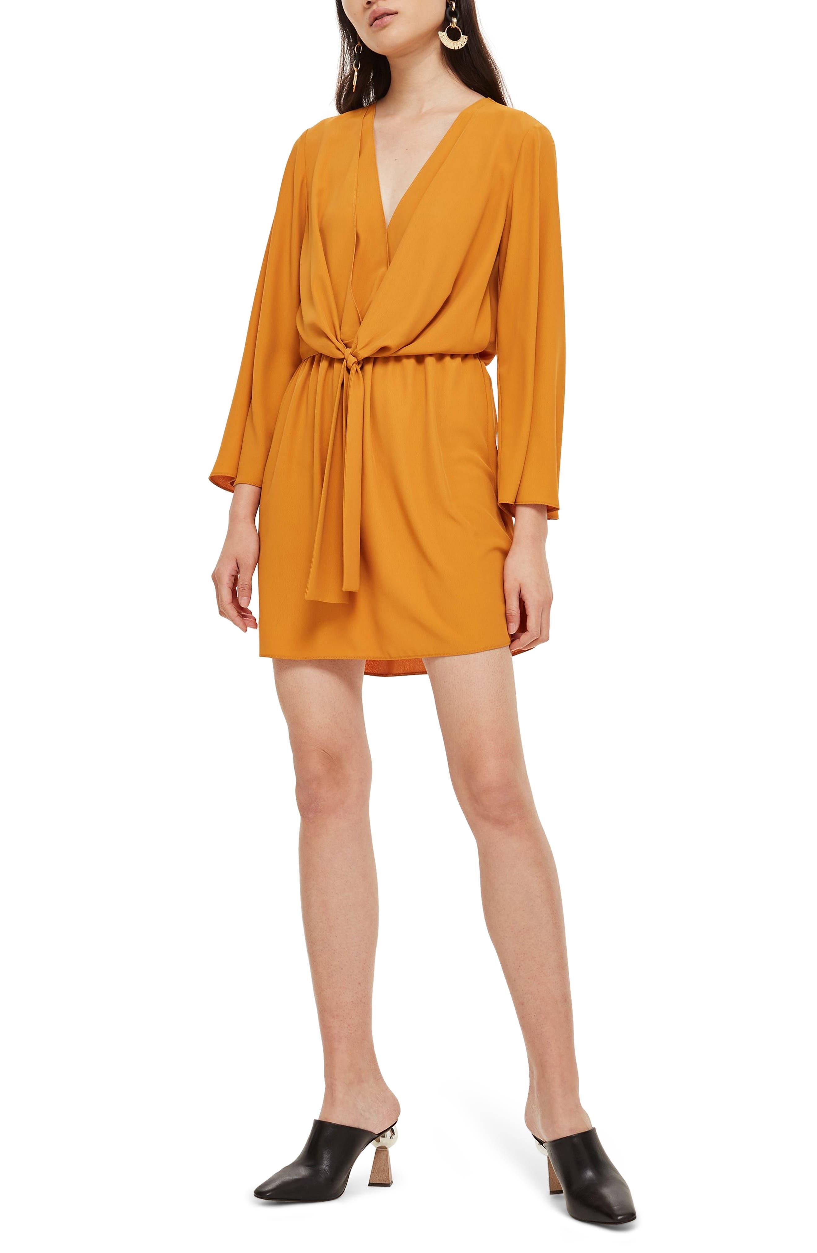 70s Dresses – Disco Dresses, Hippie Dresses, Wrap Dresses Womens Topshop Tiffany Knot Minidress Size 0 US fits like 00 - Yellow $68.00 AT vintagedancer.com
