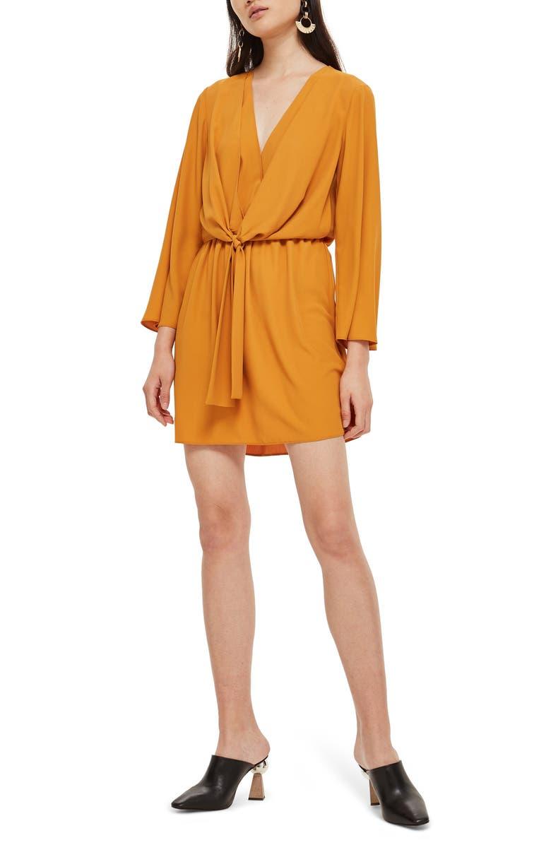 Tiffany Knot Minidress, Main, color, MUSTARD