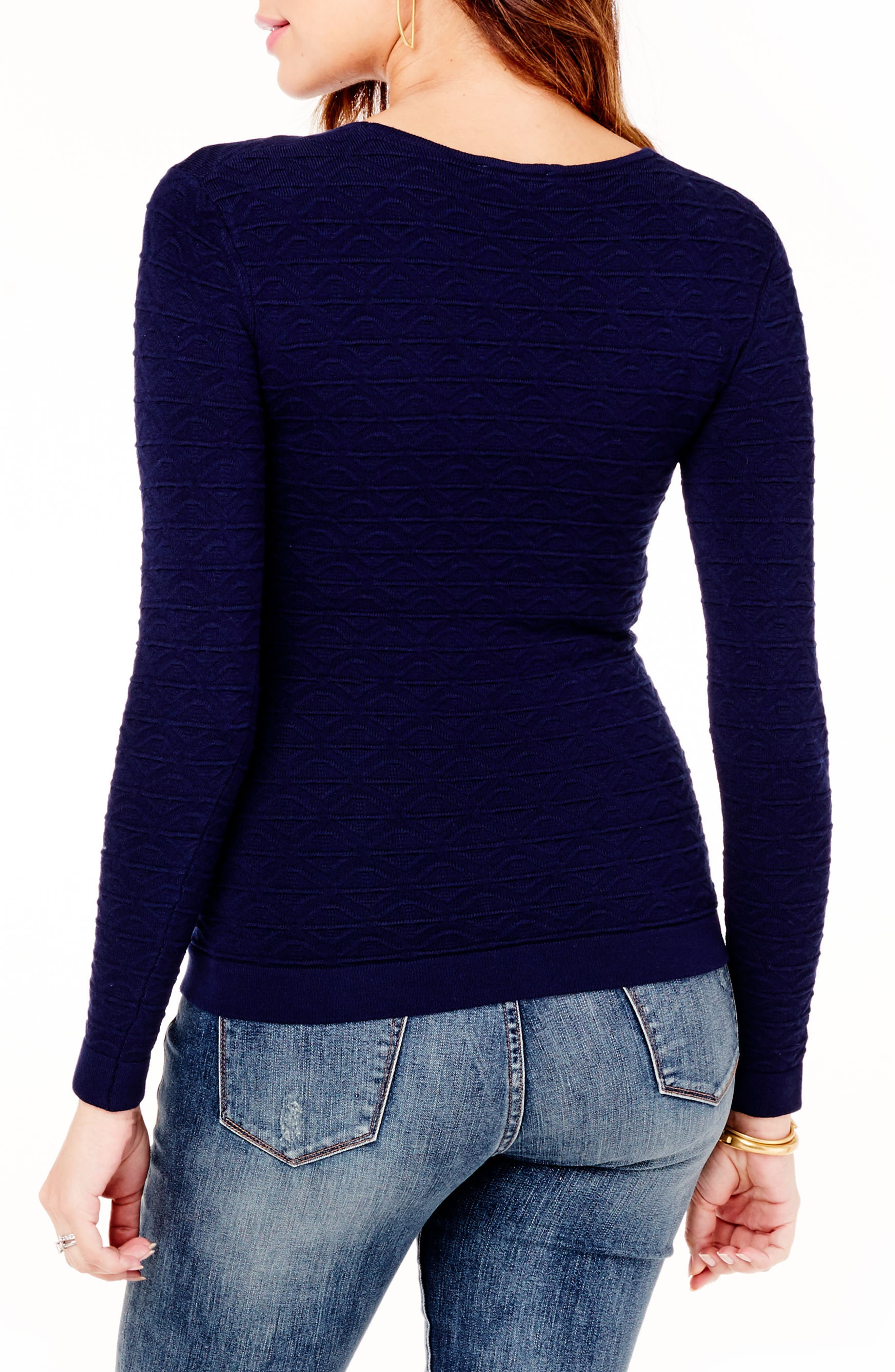 Ingrid & Isabel Textured Knit Maternity Sweater,                             Alternate thumbnail 2, color,                             TRUE NAVY
