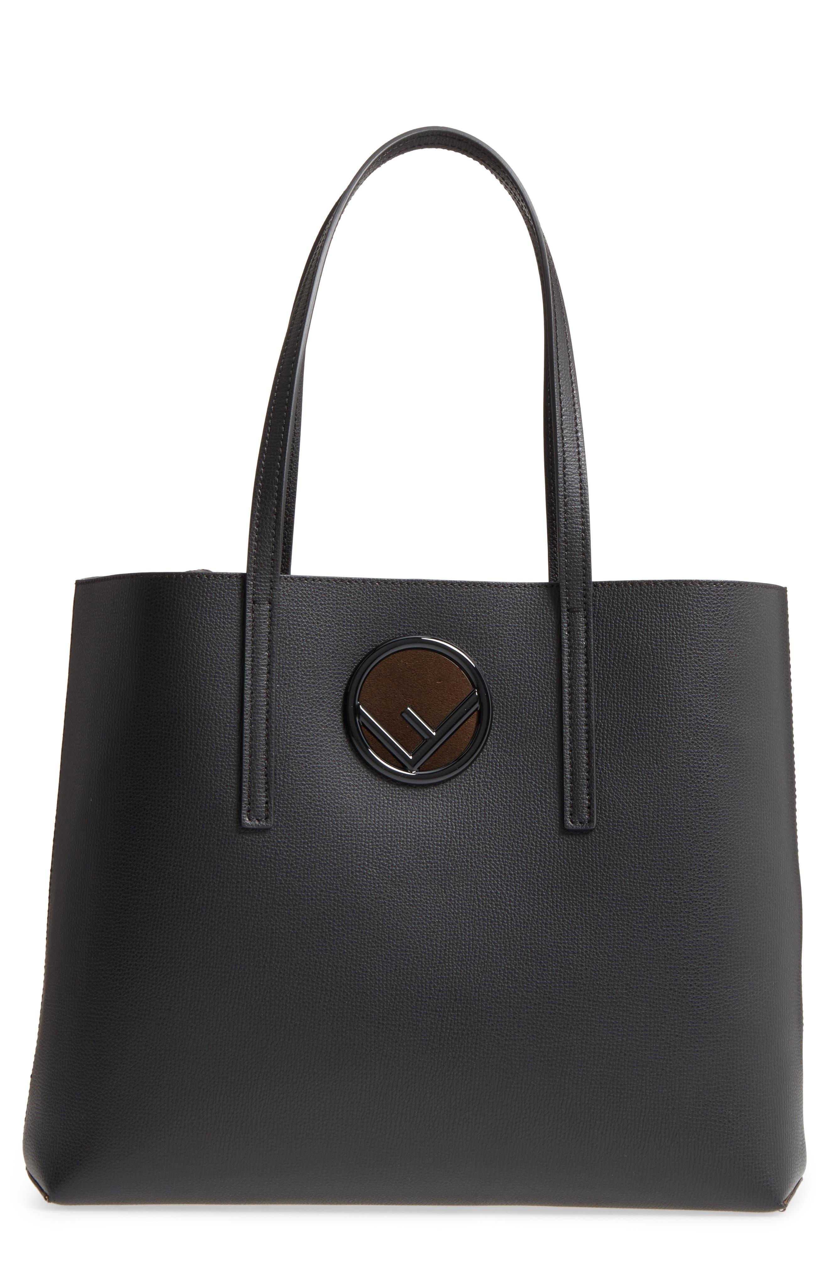 Logo Leather Shopper,                         Main,                         color, BLACK