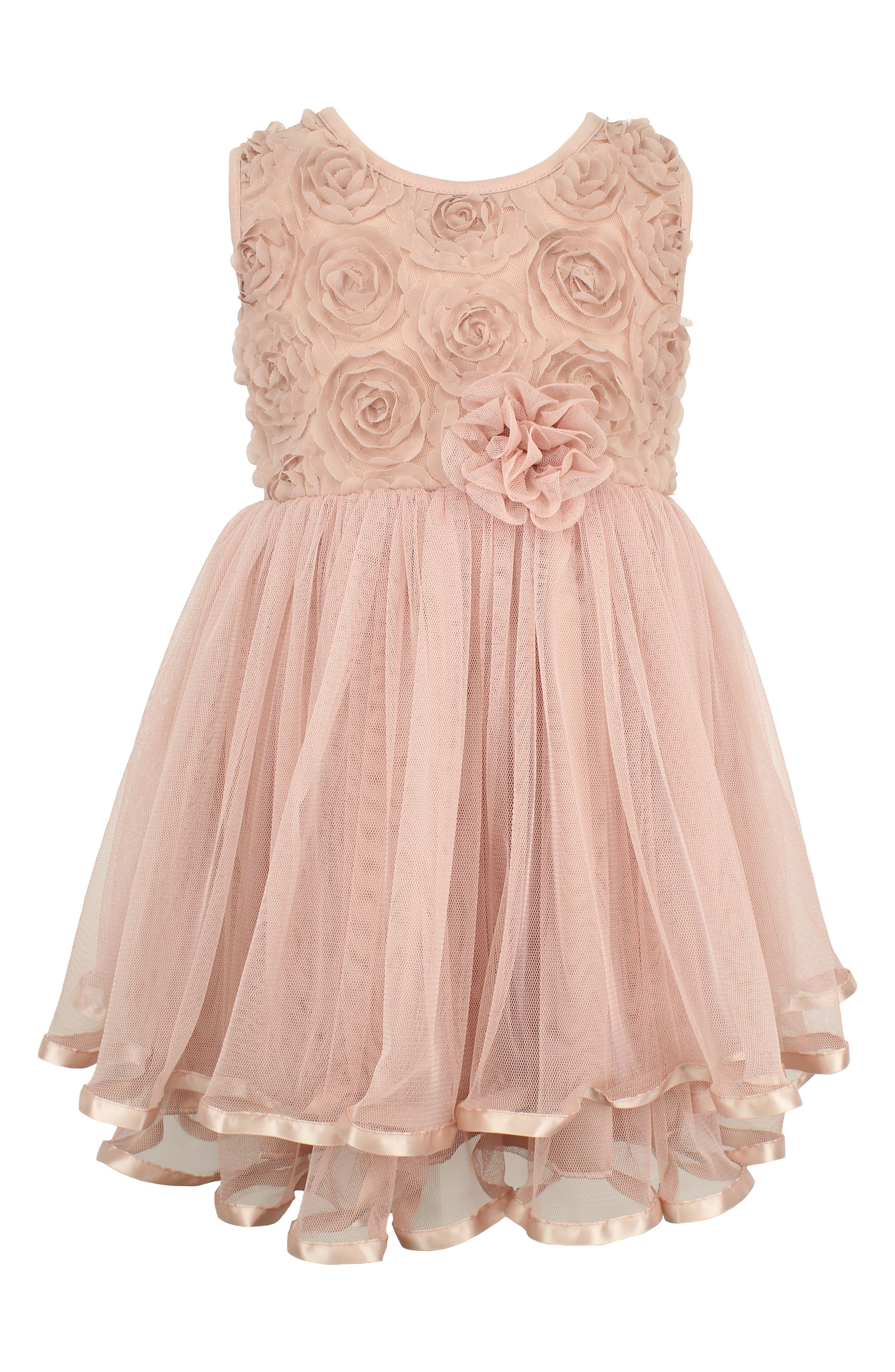 Rosette Tulle Dress,                             Main thumbnail 1, color,                             DUSTY PINK