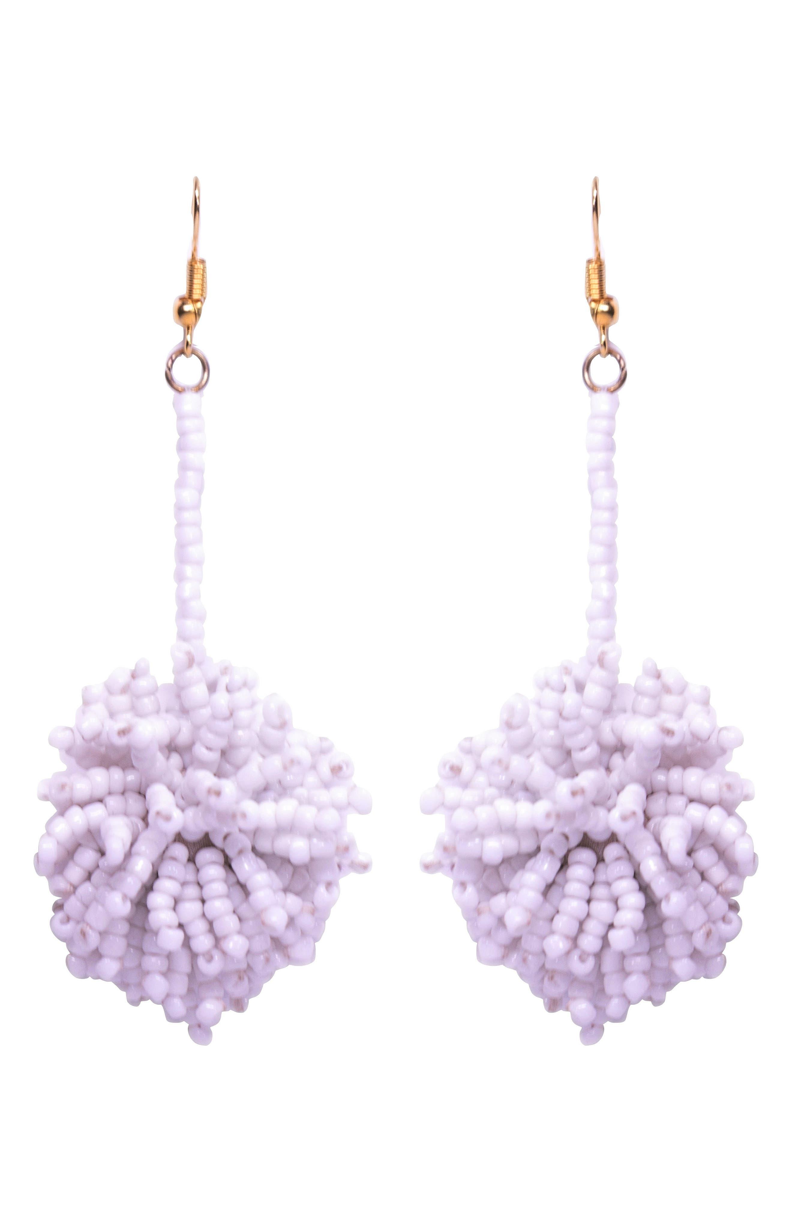 Jenna Beaded Pom Earrings,                         Main,                         color,