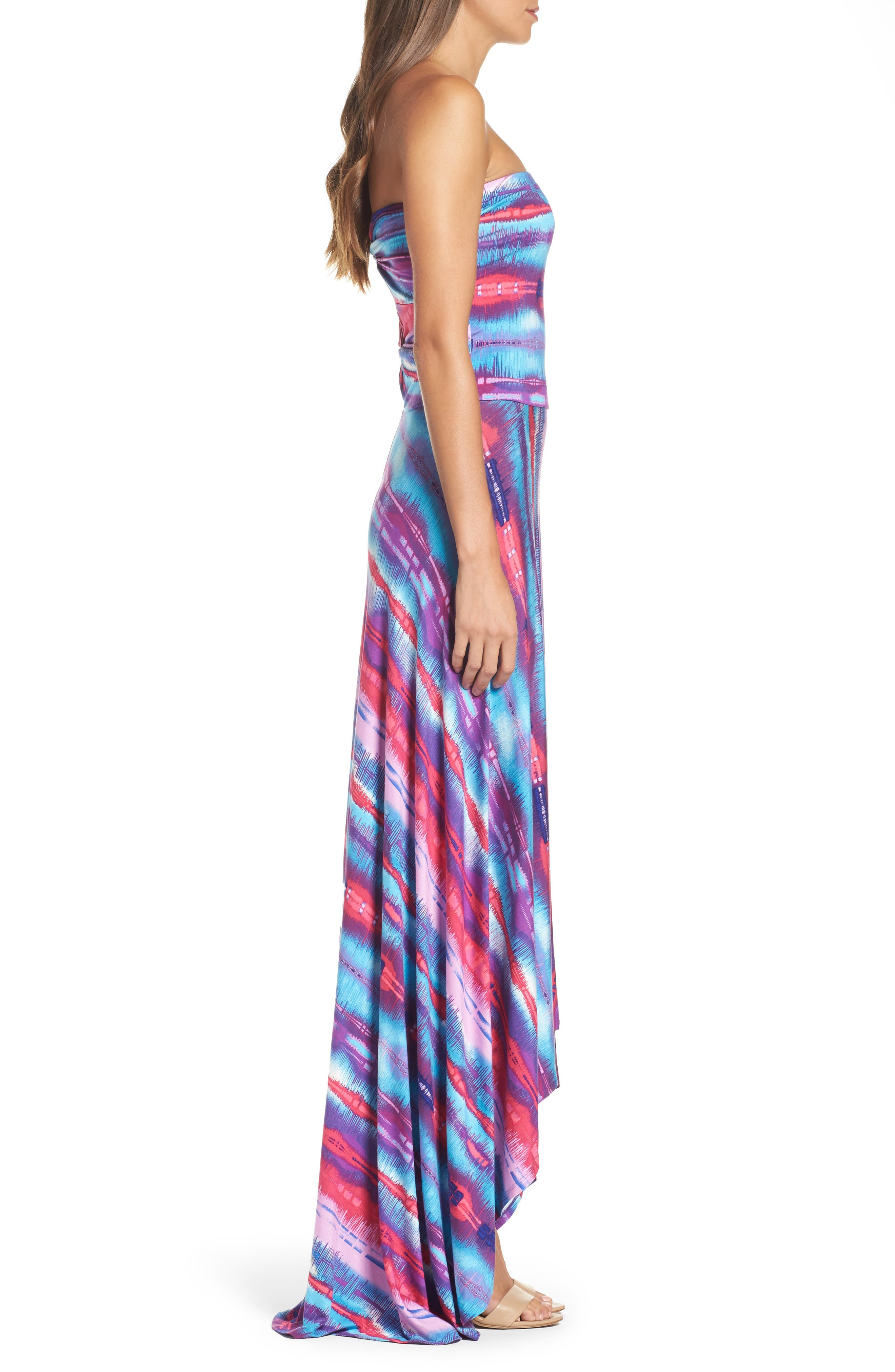Strapless Neon Print Maxi Dress,                             Alternate thumbnail 3, color,                             429