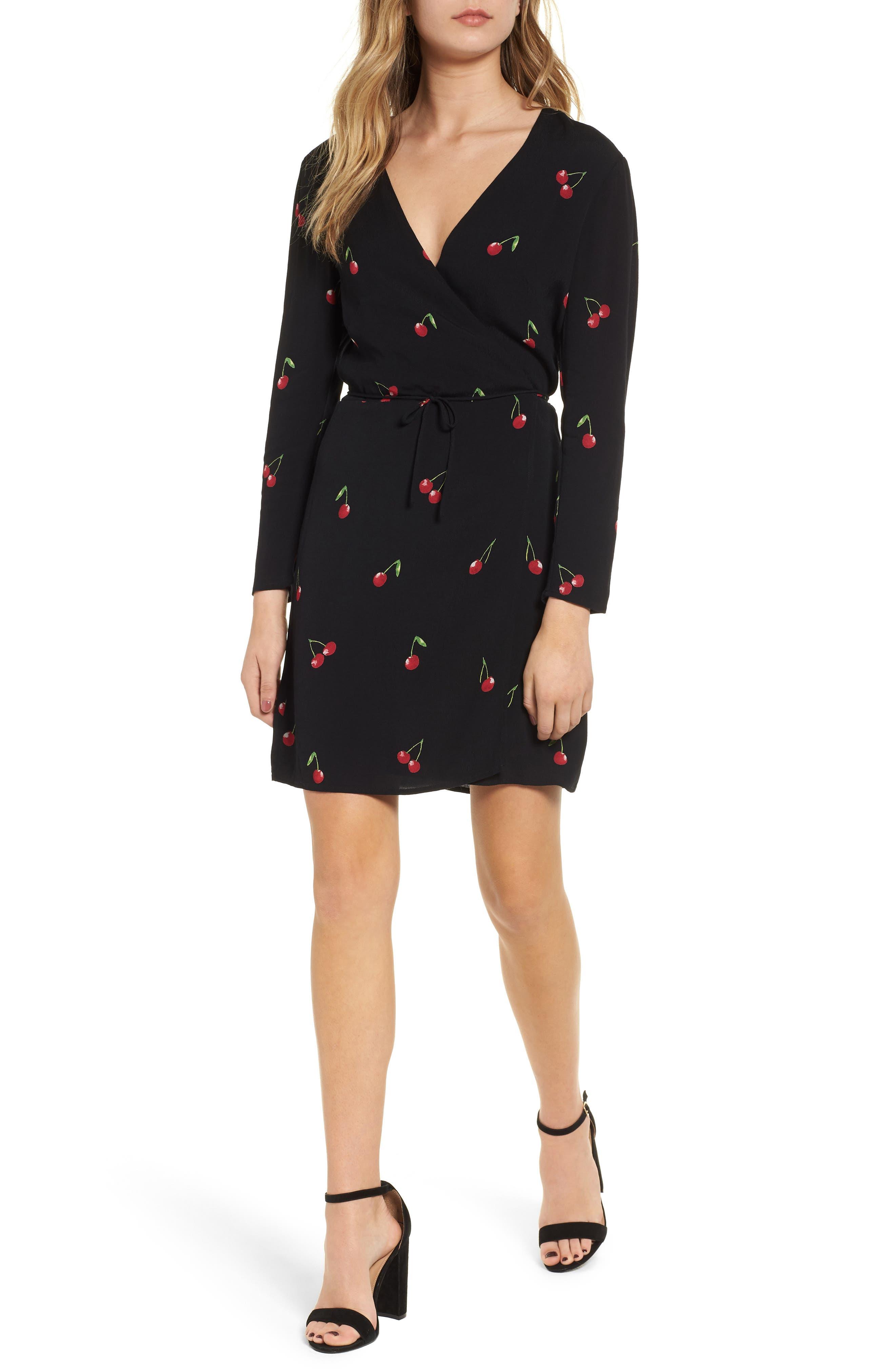 Lola Cherry Print Wrap Dress,                         Main,                         color, CERISE