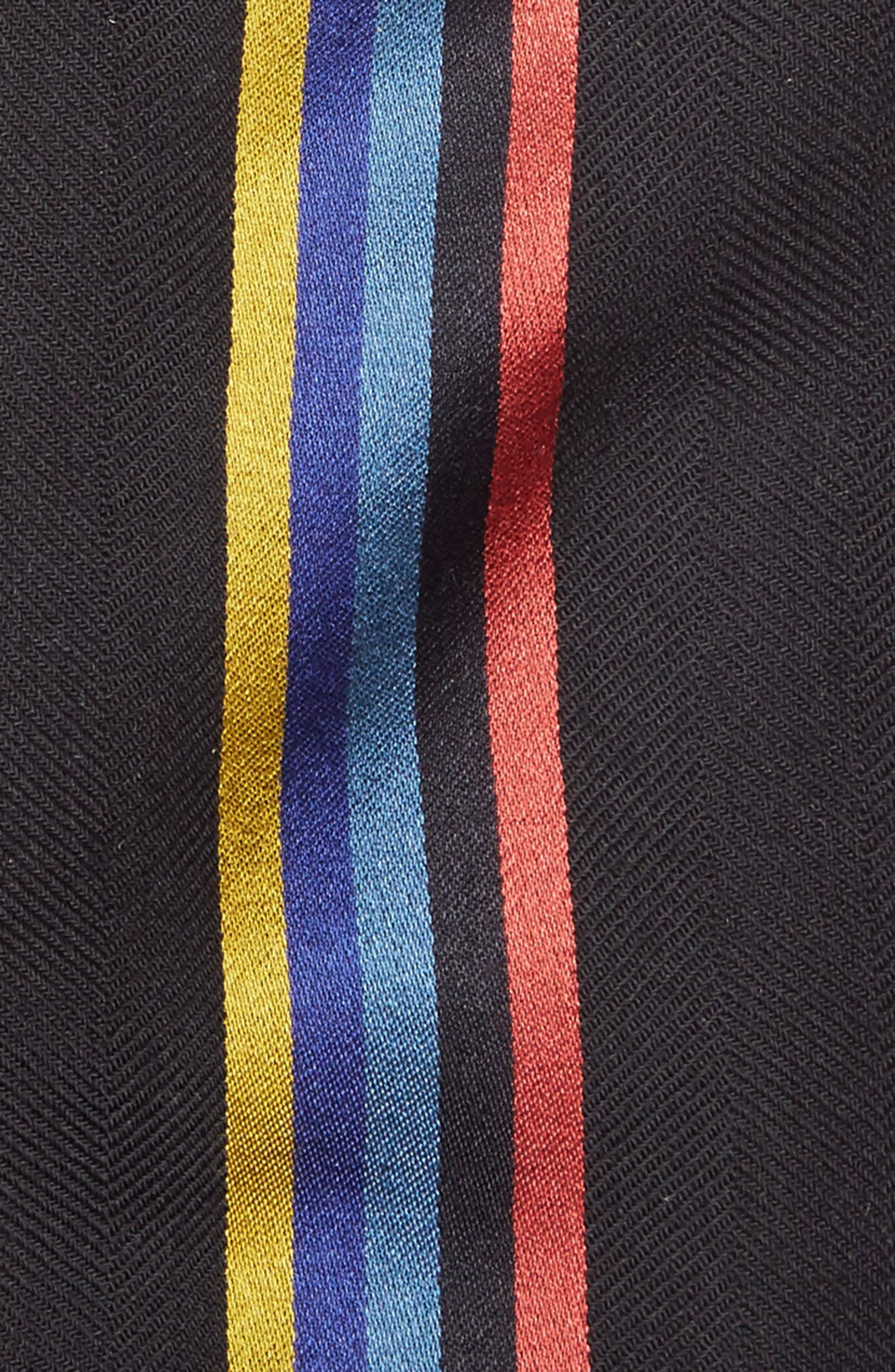 Central Stripe Wool & Silk Scarf,                             Alternate thumbnail 3, color,                             001