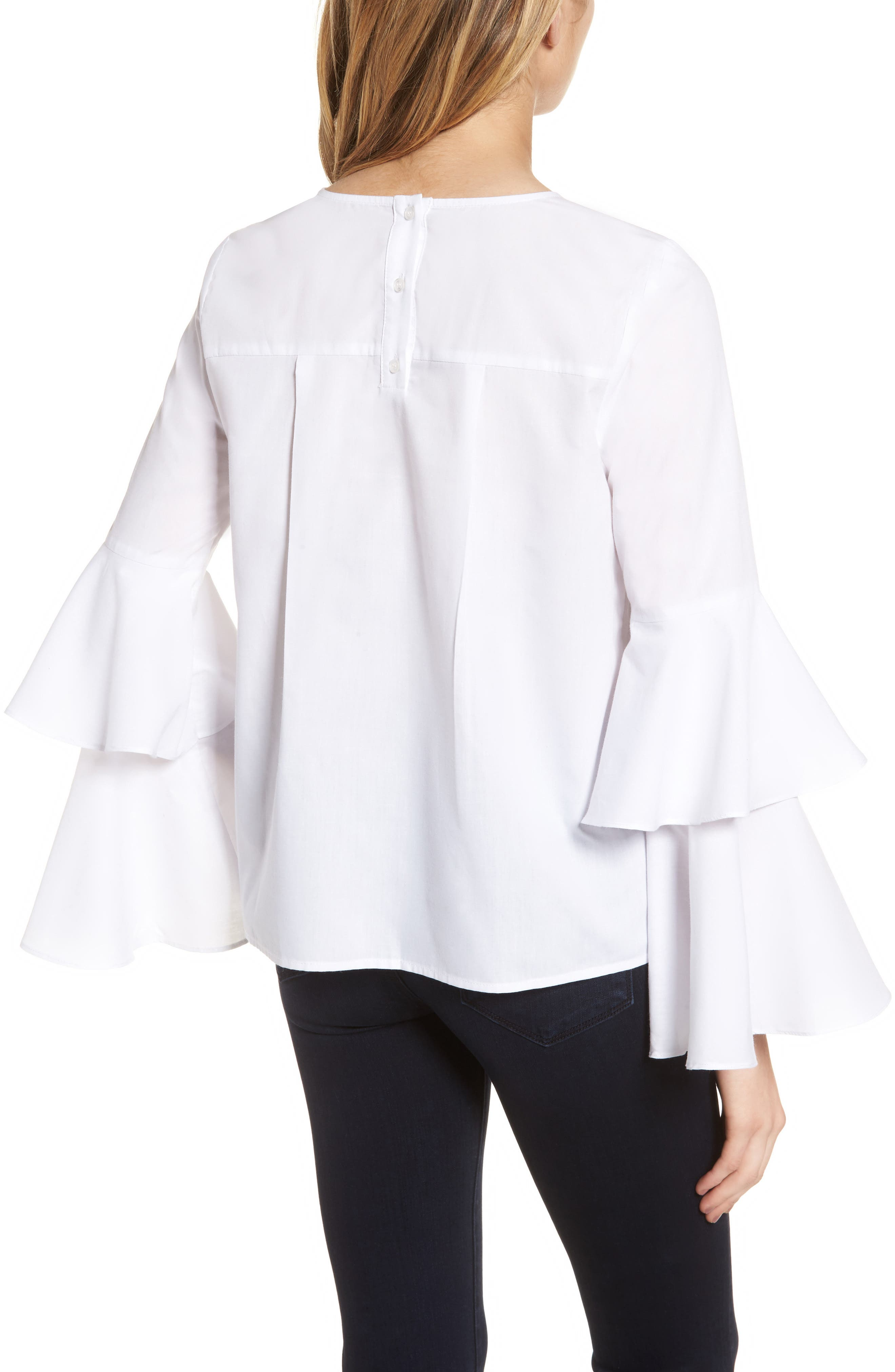 Bell Sleeve Poplin Top,                             Alternate thumbnail 2, color,                             100